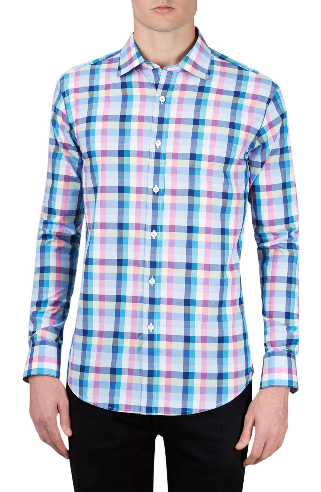 Shaped Fit Check Sport Shirt,                         Main,                         color, 420