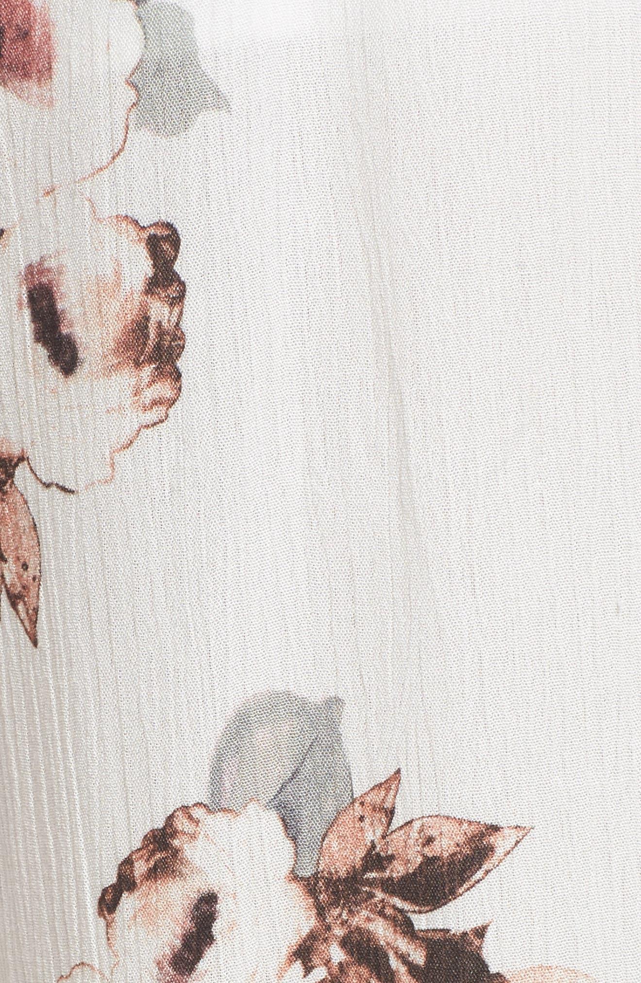 Floral Print Jumpsuit,                             Alternate thumbnail 6, color,                             100