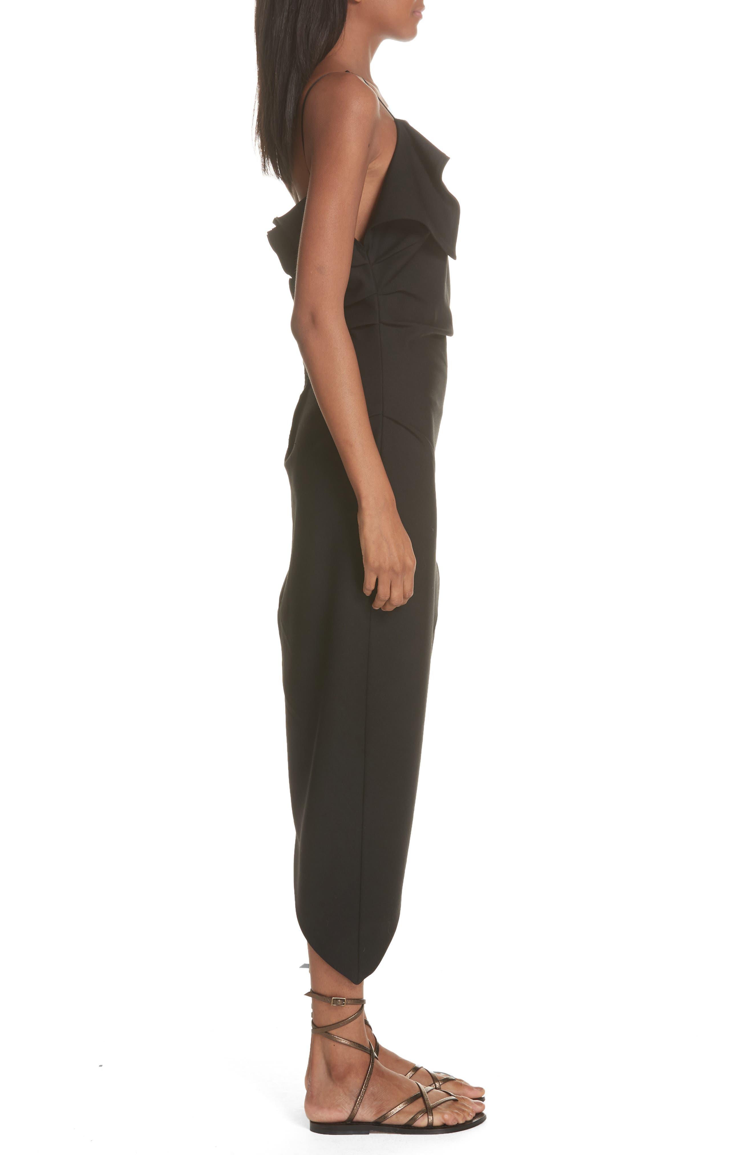 Ruffle Neck Asymmetrical Dress,                             Alternate thumbnail 3, color,                             BLACK