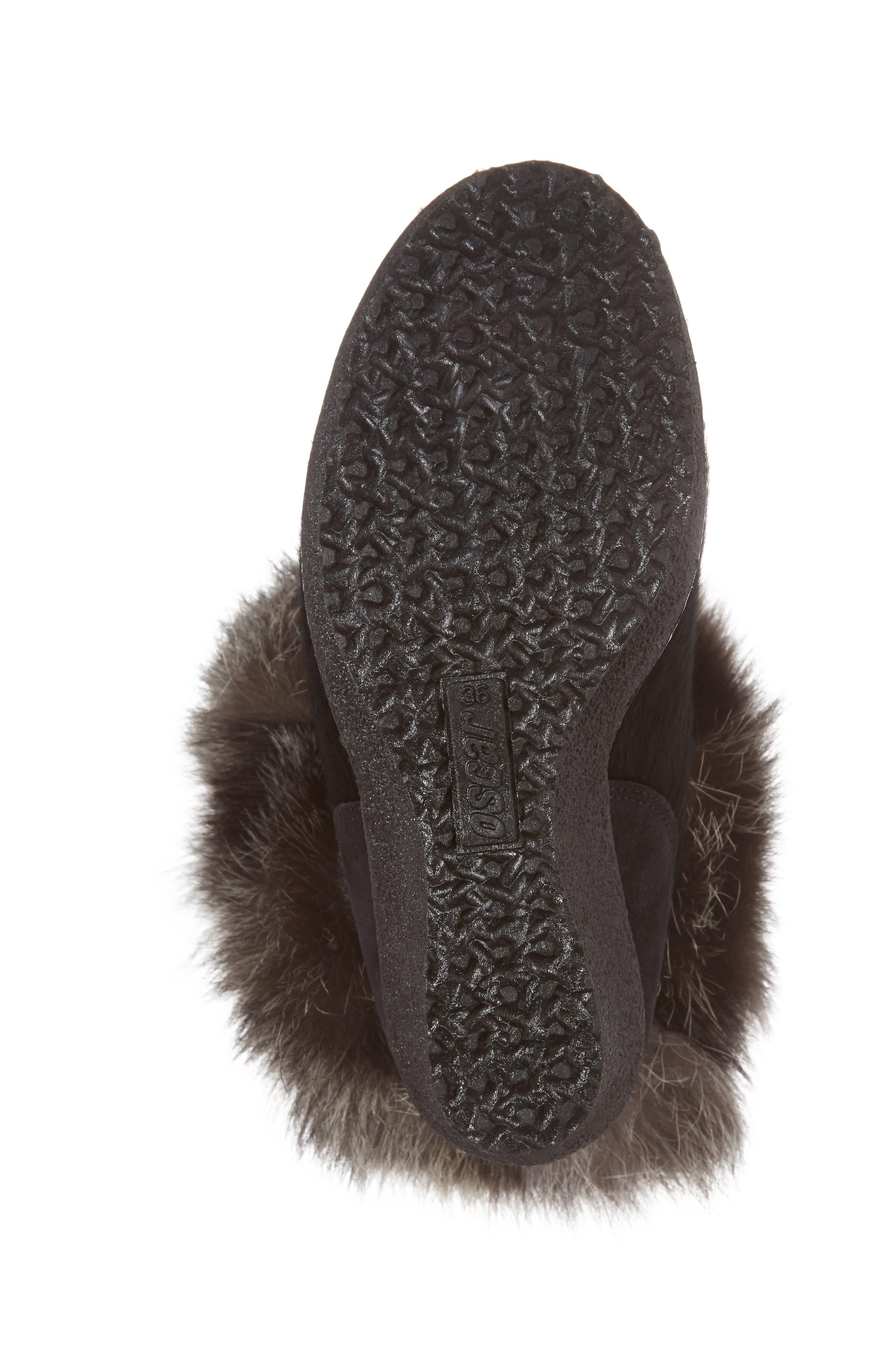 Angelina Genuine Fox Fur Wedge Boot,                             Alternate thumbnail 6, color,                             001