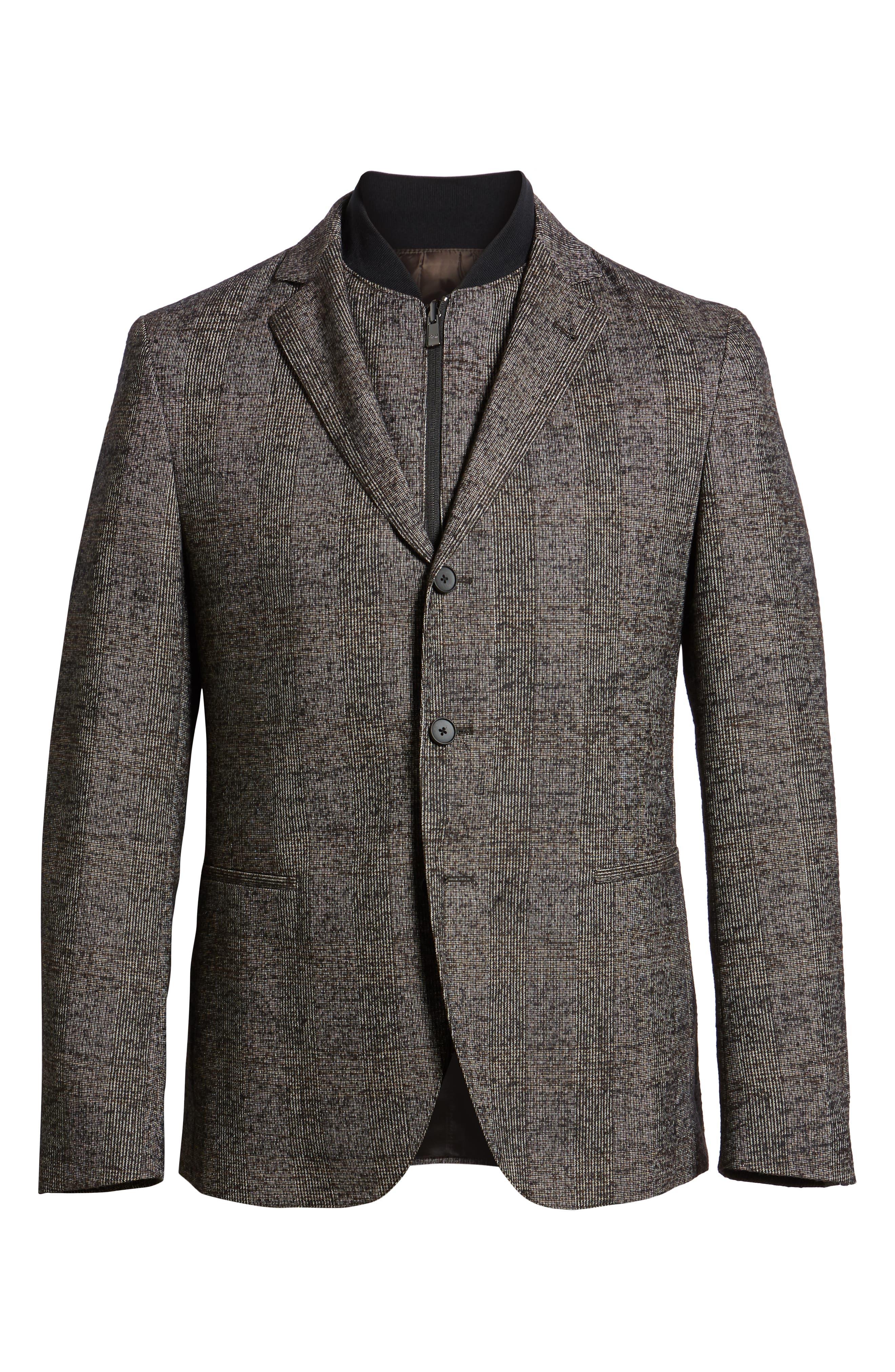Nanon Trim Fit Plaid Wool Blend Sport Coat,                             Alternate thumbnail 5, color,                             BLACK