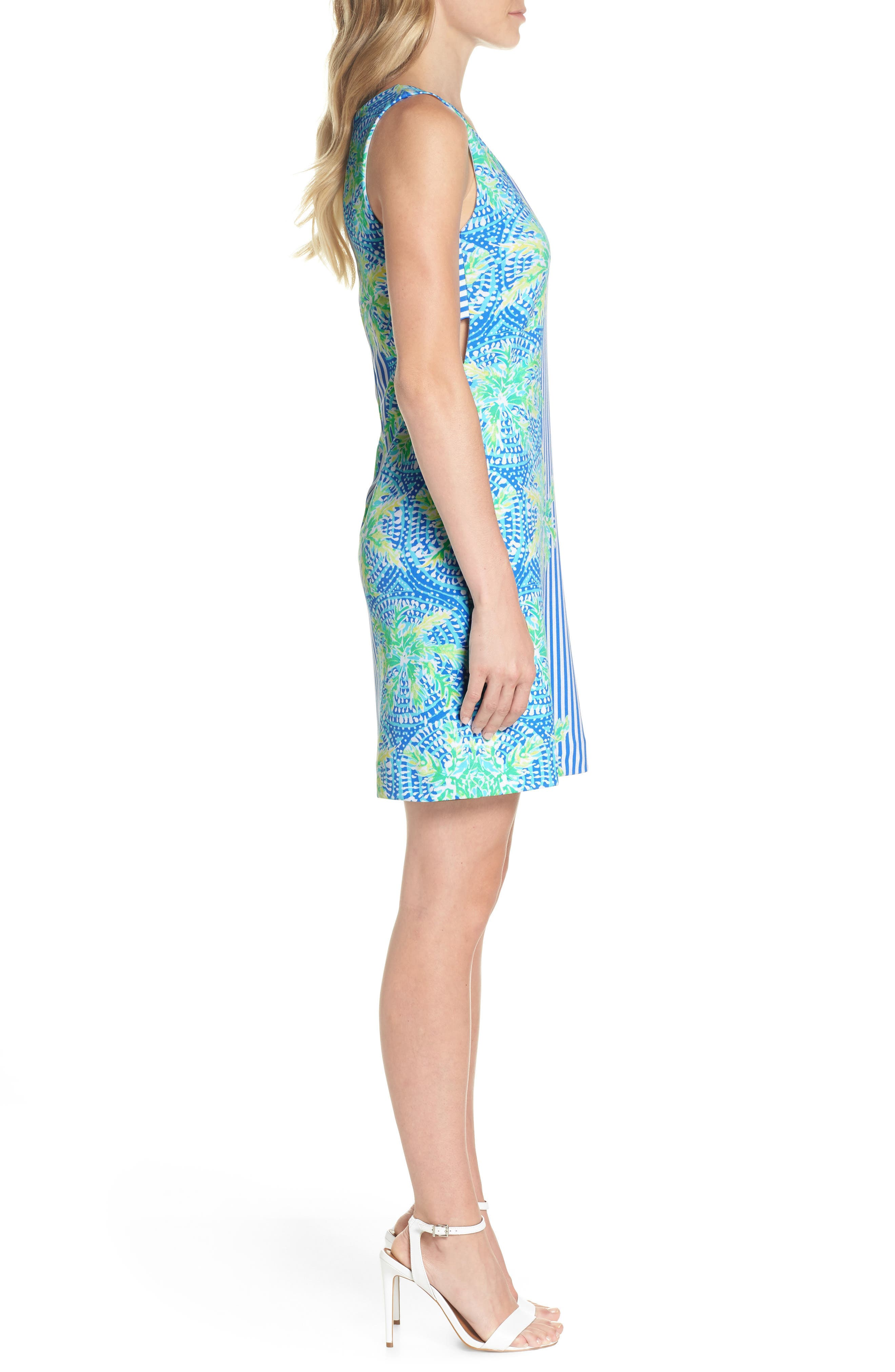 Chiara Stripe & Floral Print Dress,                             Alternate thumbnail 3, color,                             BENNET BLUE TROPIC LIKE ITS