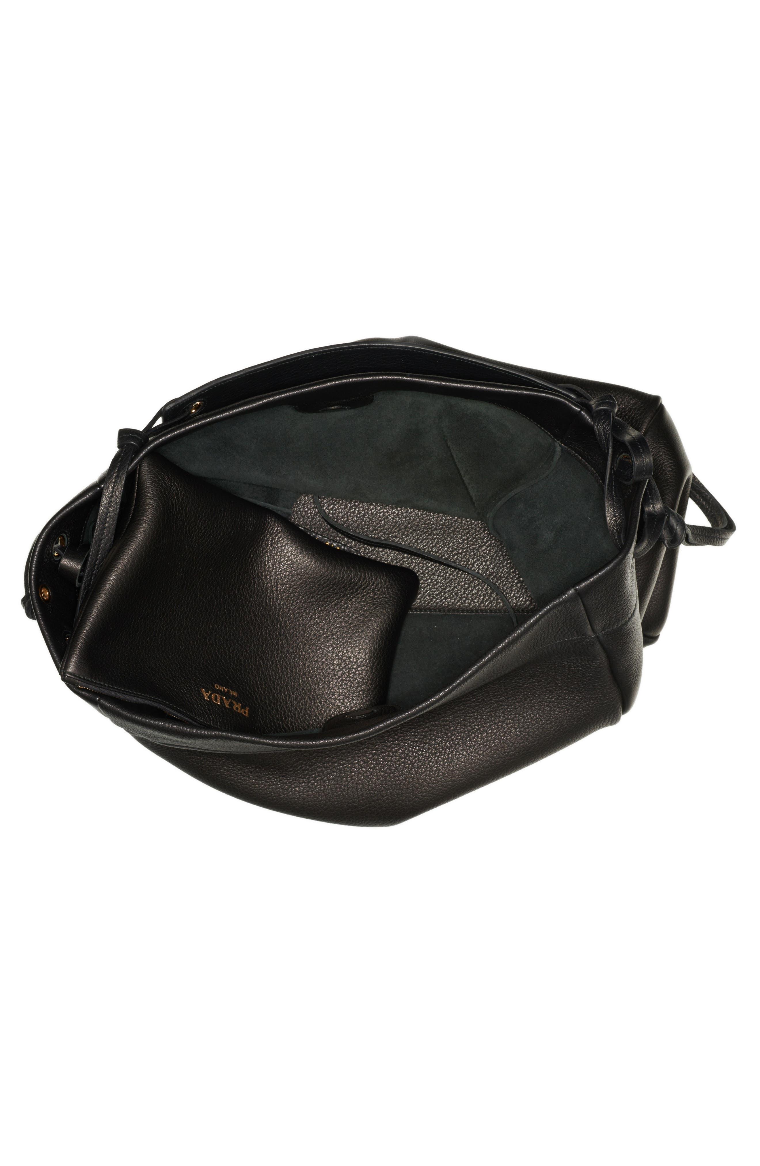 PRADA,                             Large Deerskin Leather Hobo,                             Alternate thumbnail 3, color,                             001