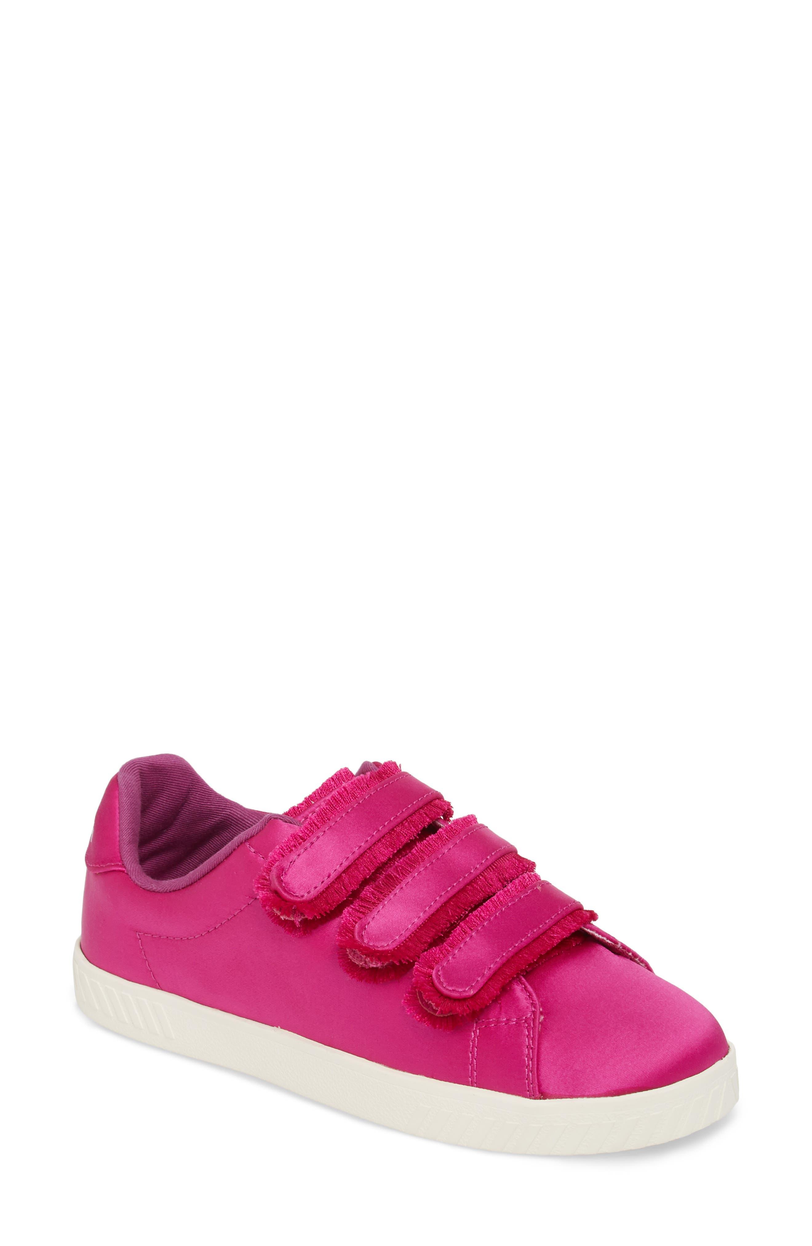 Fringed Strap Sneaker,                             Main thumbnail 1, color,                             FUCHSIA SATIN