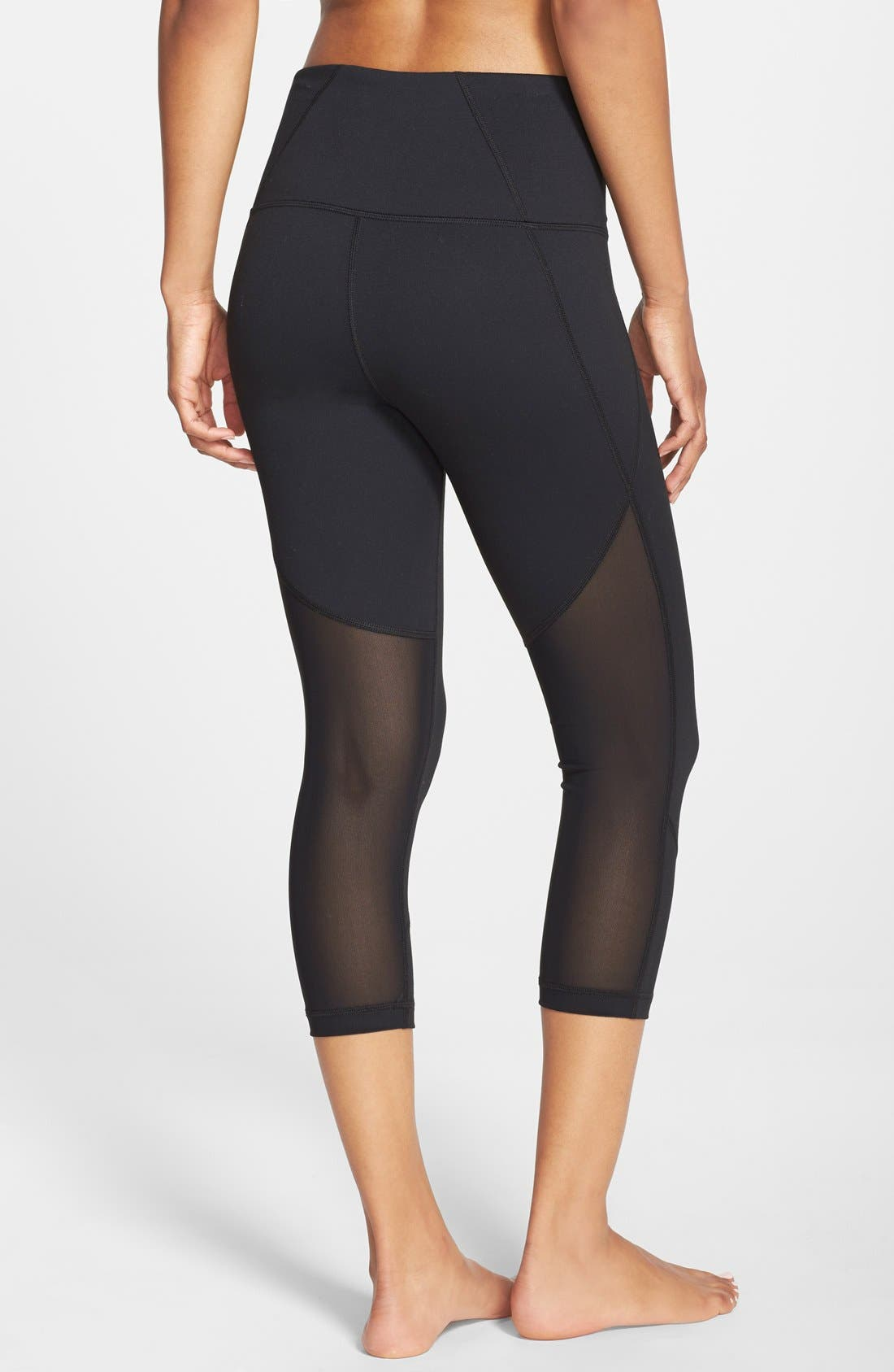 'Live In - Sultry' High Waist Mesh Crop Leggings,                         Main,                         color, 001