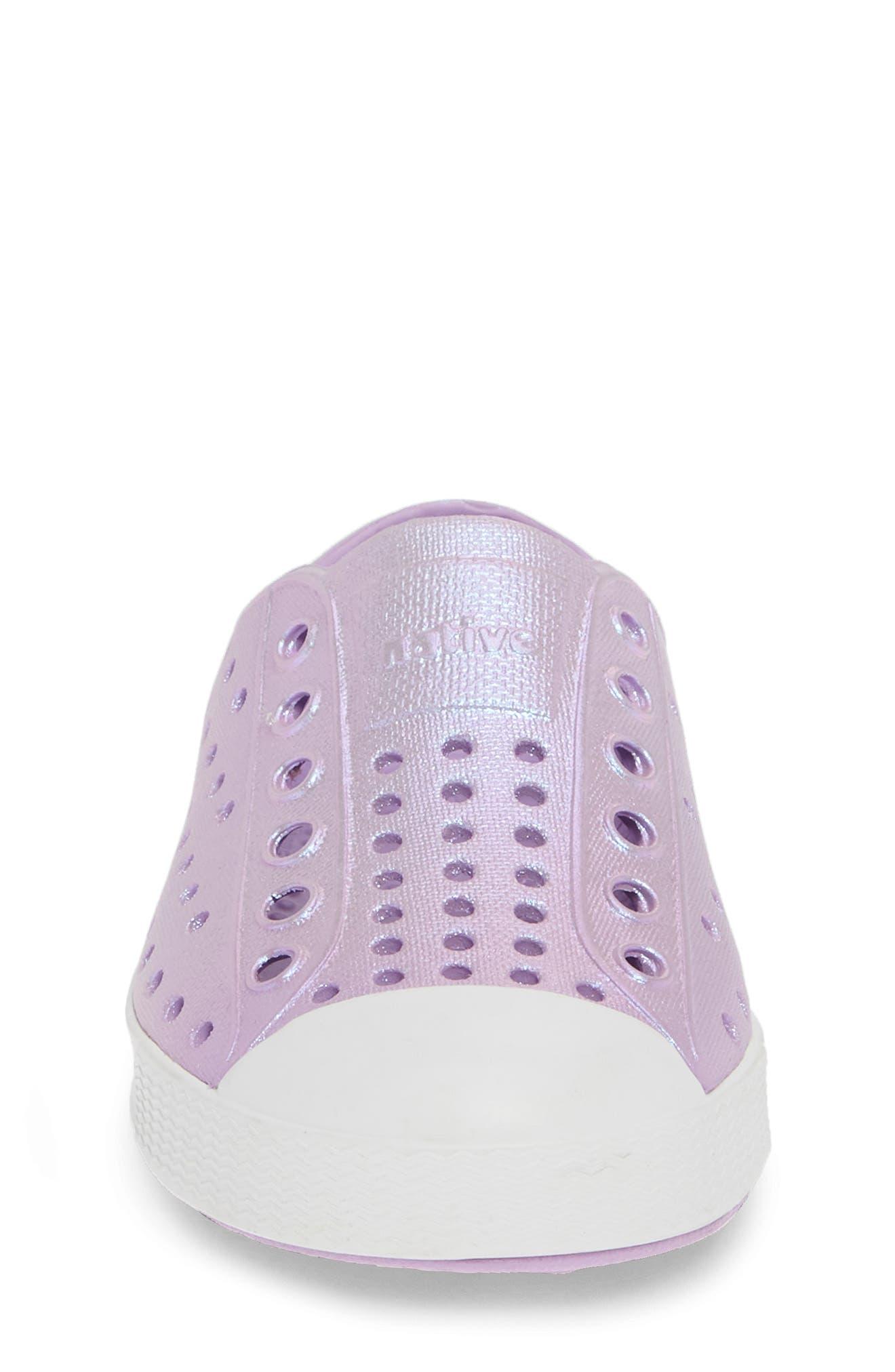 Jefferson Iridescent Slip-On Vegan Sneaker,                             Alternate thumbnail 4, color,                             LAVENDER/ SHELL WHITE/ GALAXY