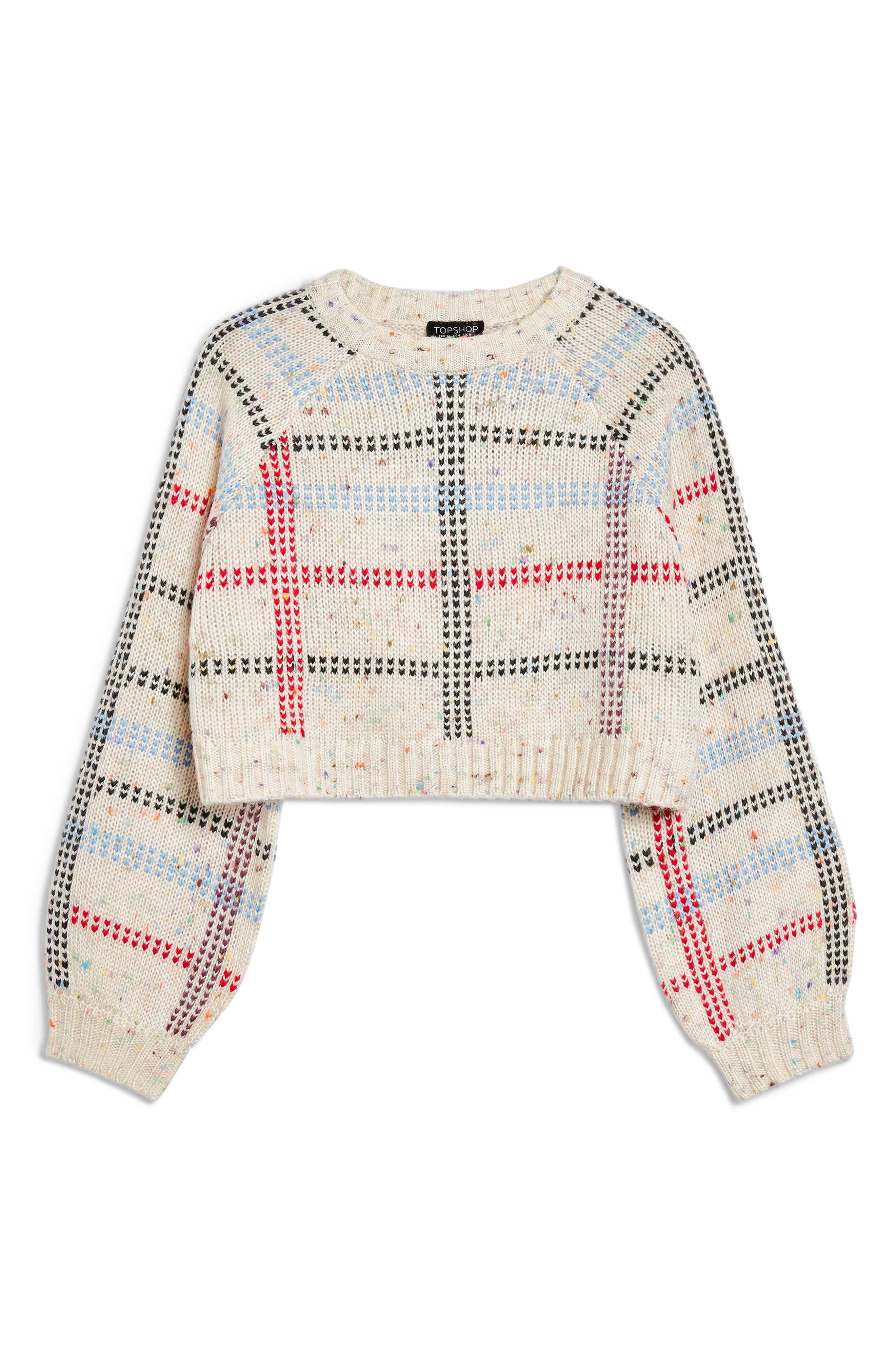 Check Pattern Sweater,                             Alternate thumbnail 3, color,                             IVORY MULTI