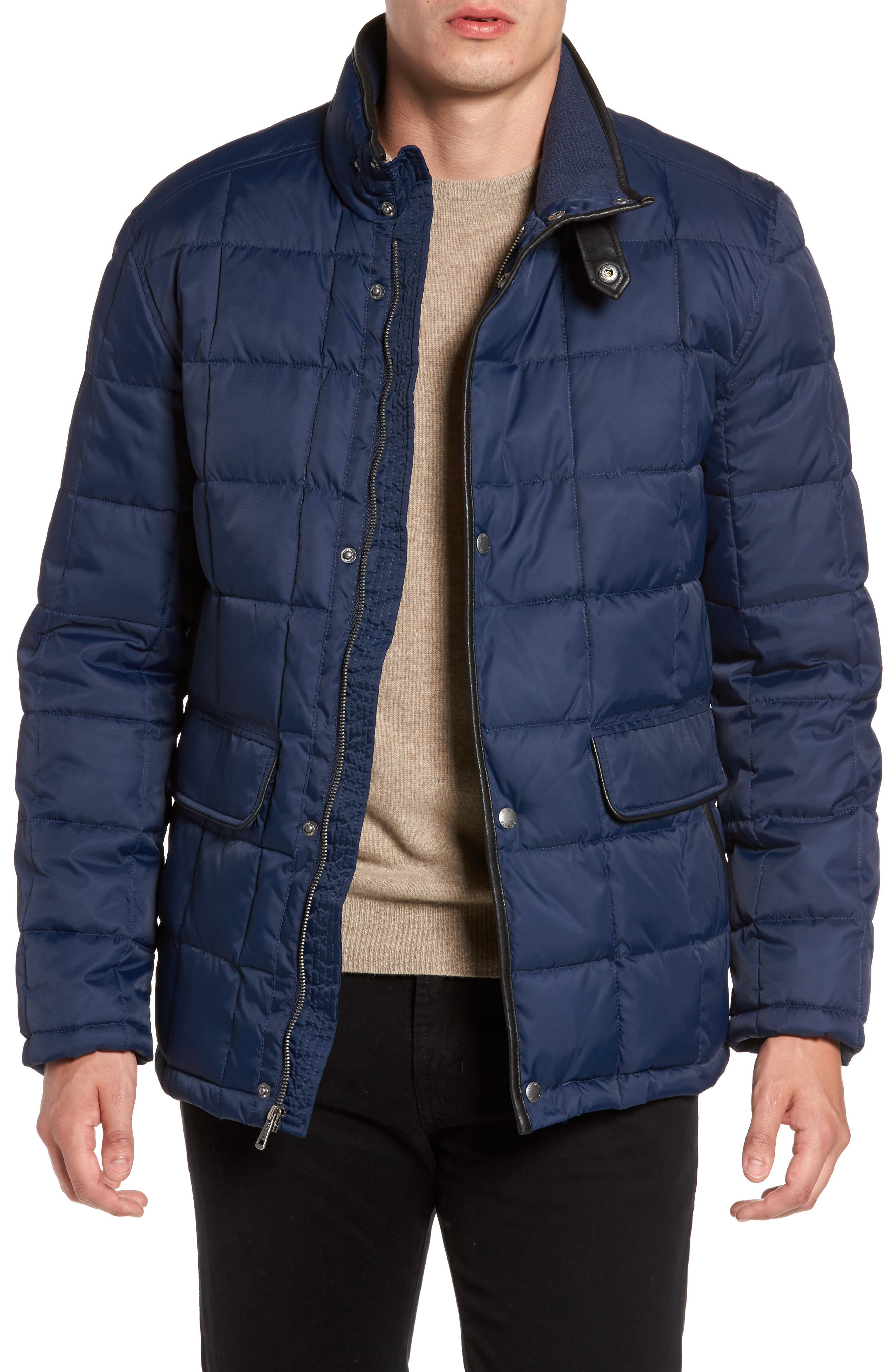Box Quilted Jacket,                         Main,                         color, NAVY
