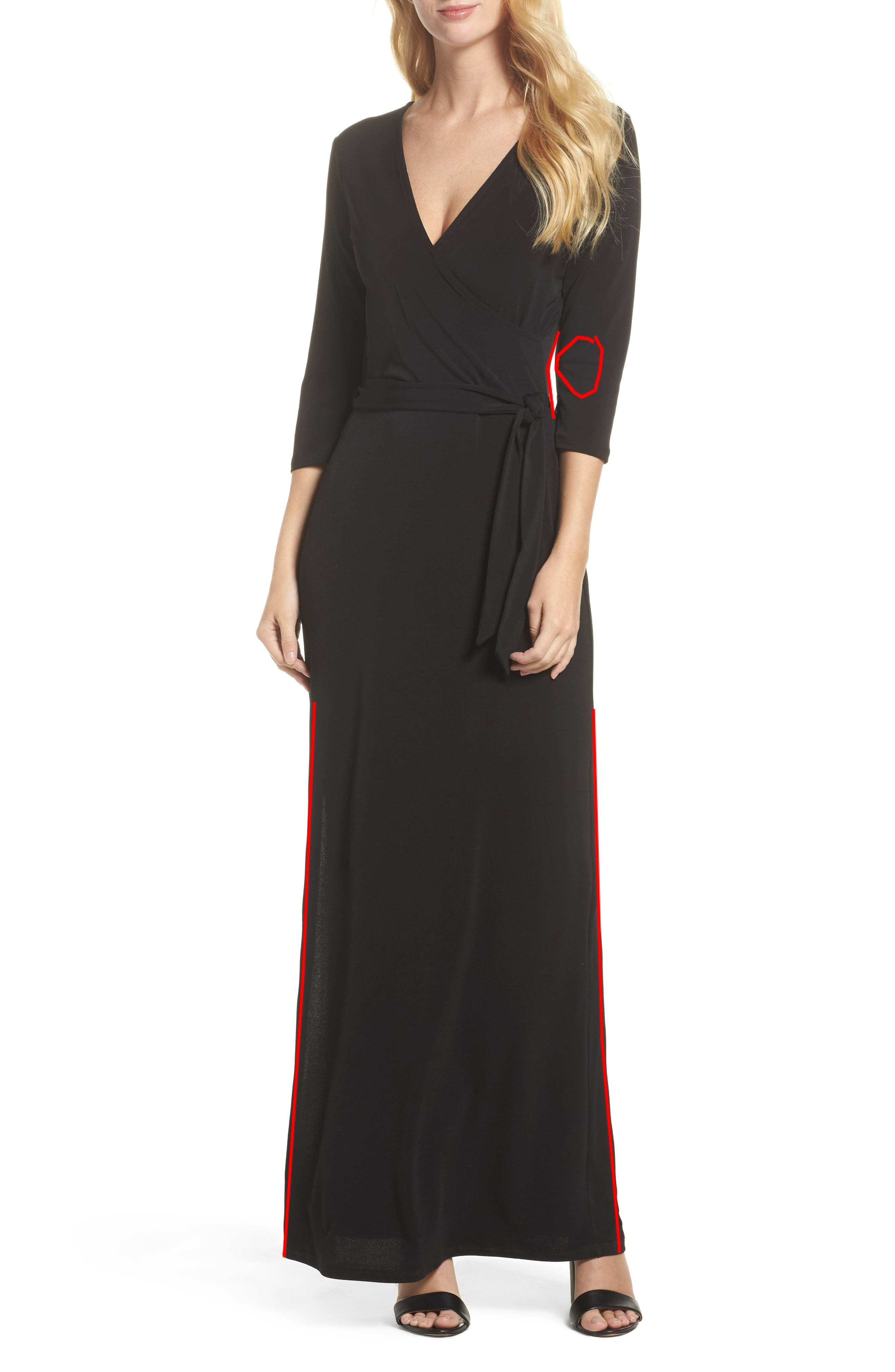 Perfect Wrap Maxi Dress,                             Alternate thumbnail 5, color,                             BLACK CREPE