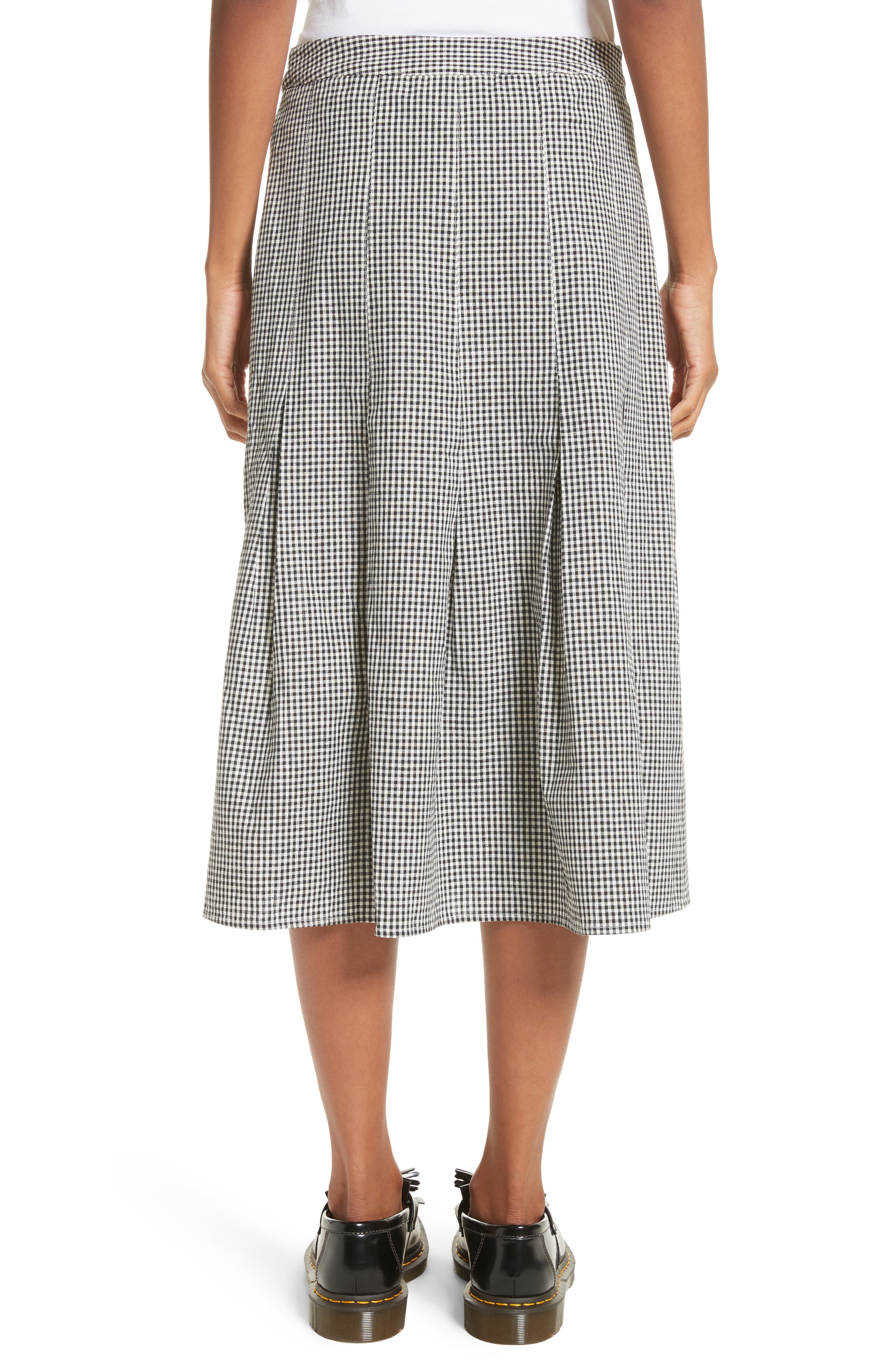 Uniform Gingham Linen & Cotton Skirt,                             Alternate thumbnail 2, color,                             004