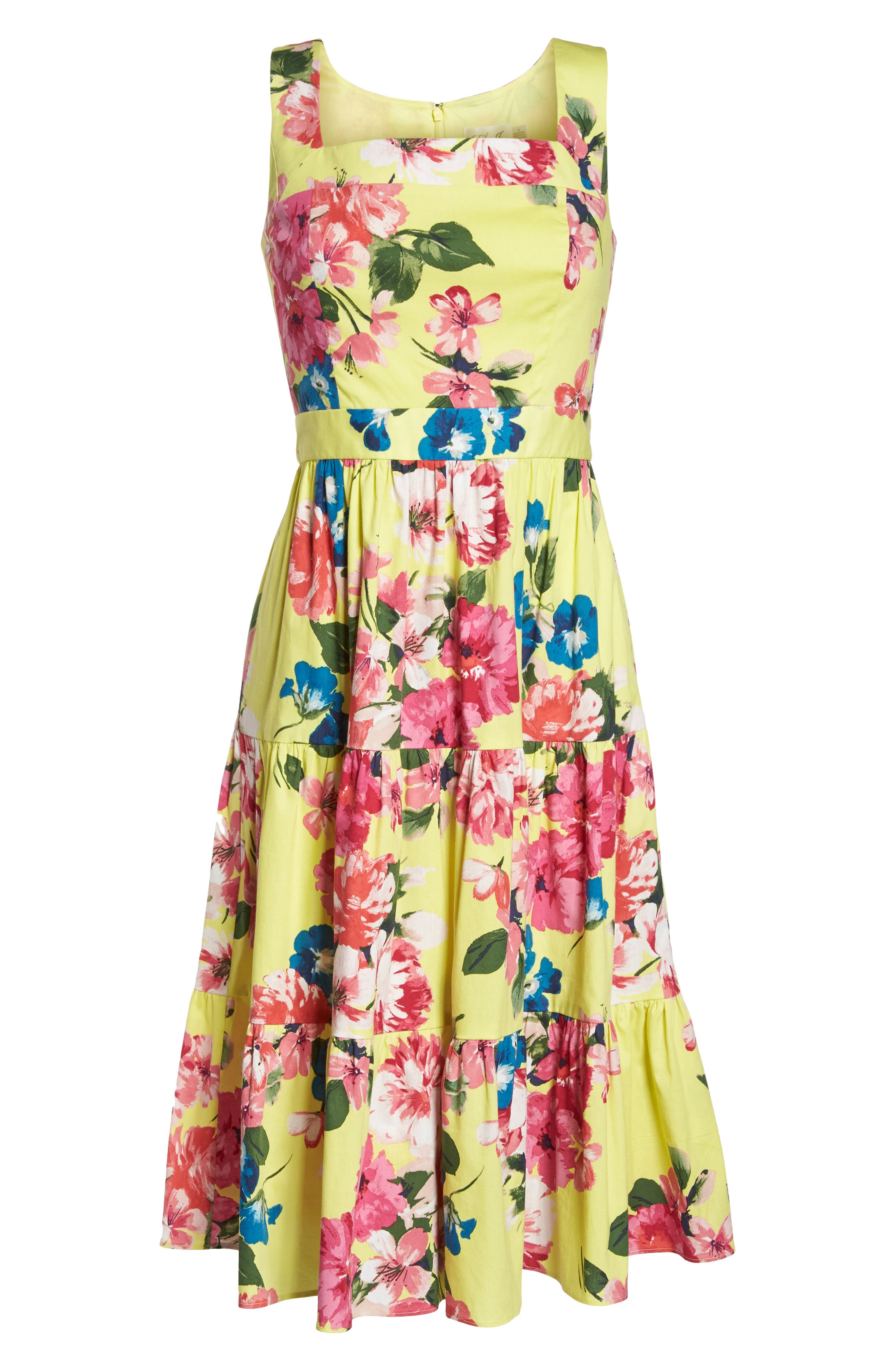 Square Neck Floral Tiered Fit & Flare Midi Dress,                             Alternate thumbnail 7, color,                             720
