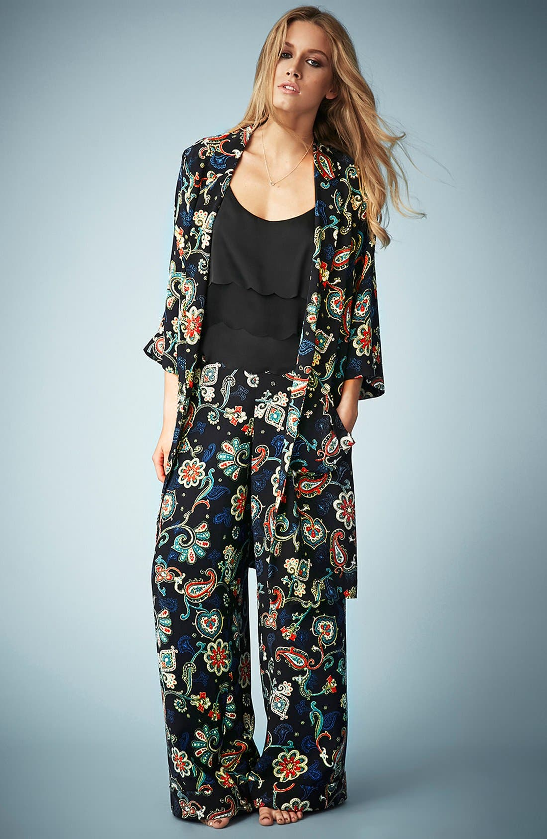 Kate Moss for Topshop Paisley Wide Leg Pants,                             Alternate thumbnail 2, color,                             001