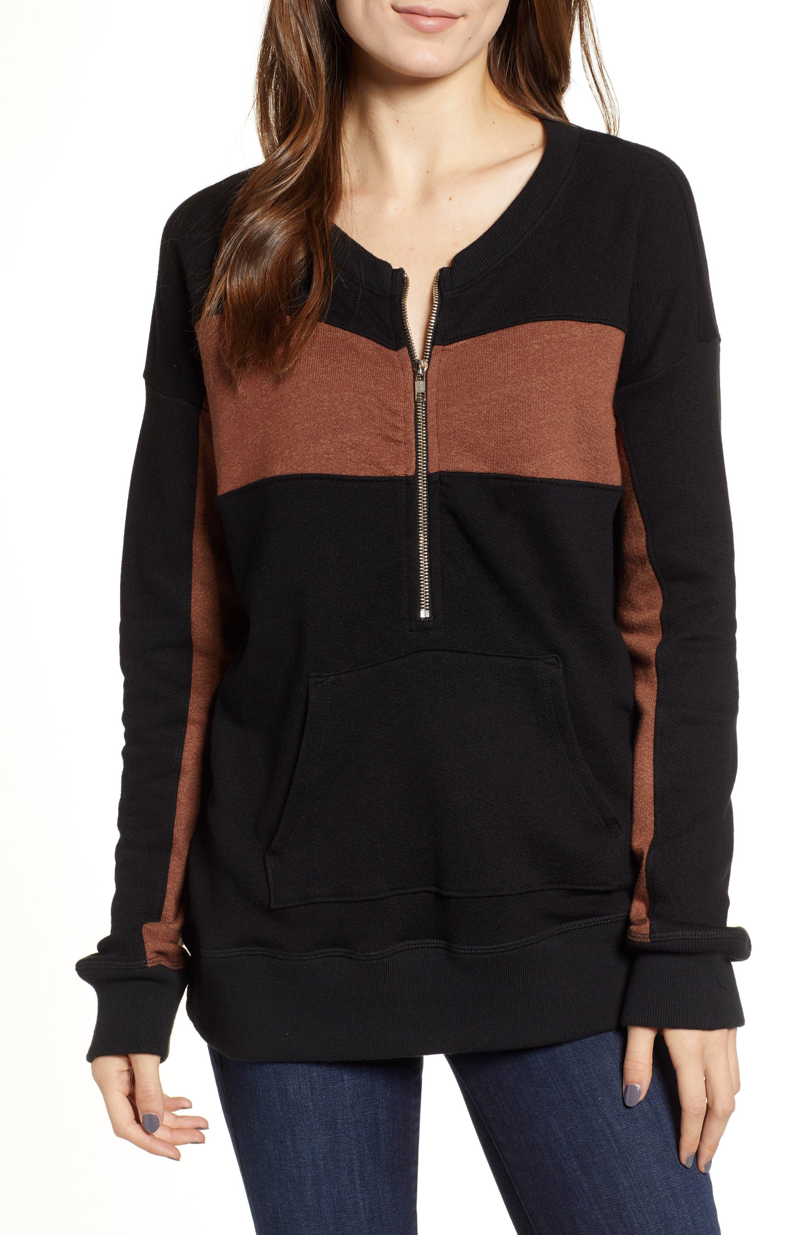 N PHILANTHROPY Stripe Quarter Zip Sweatshirt in Black Cat Copper