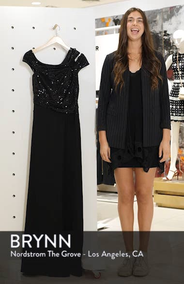 Off-Shoulder Sequin Bodice Gown, sales video thumbnail