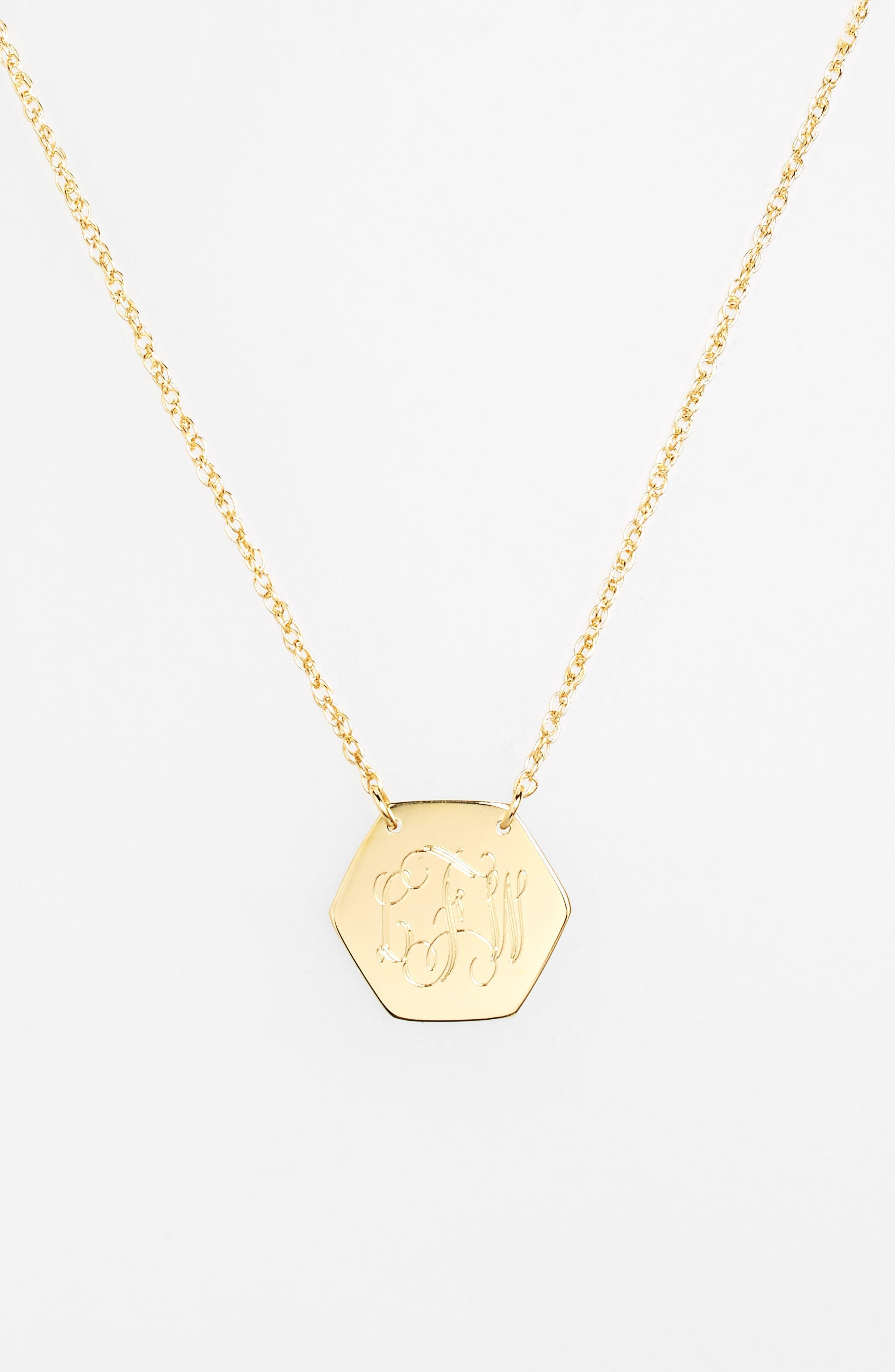 Personalized Hexagon Pendant Necklace,                             Alternate thumbnail 3, color,                             GOLD