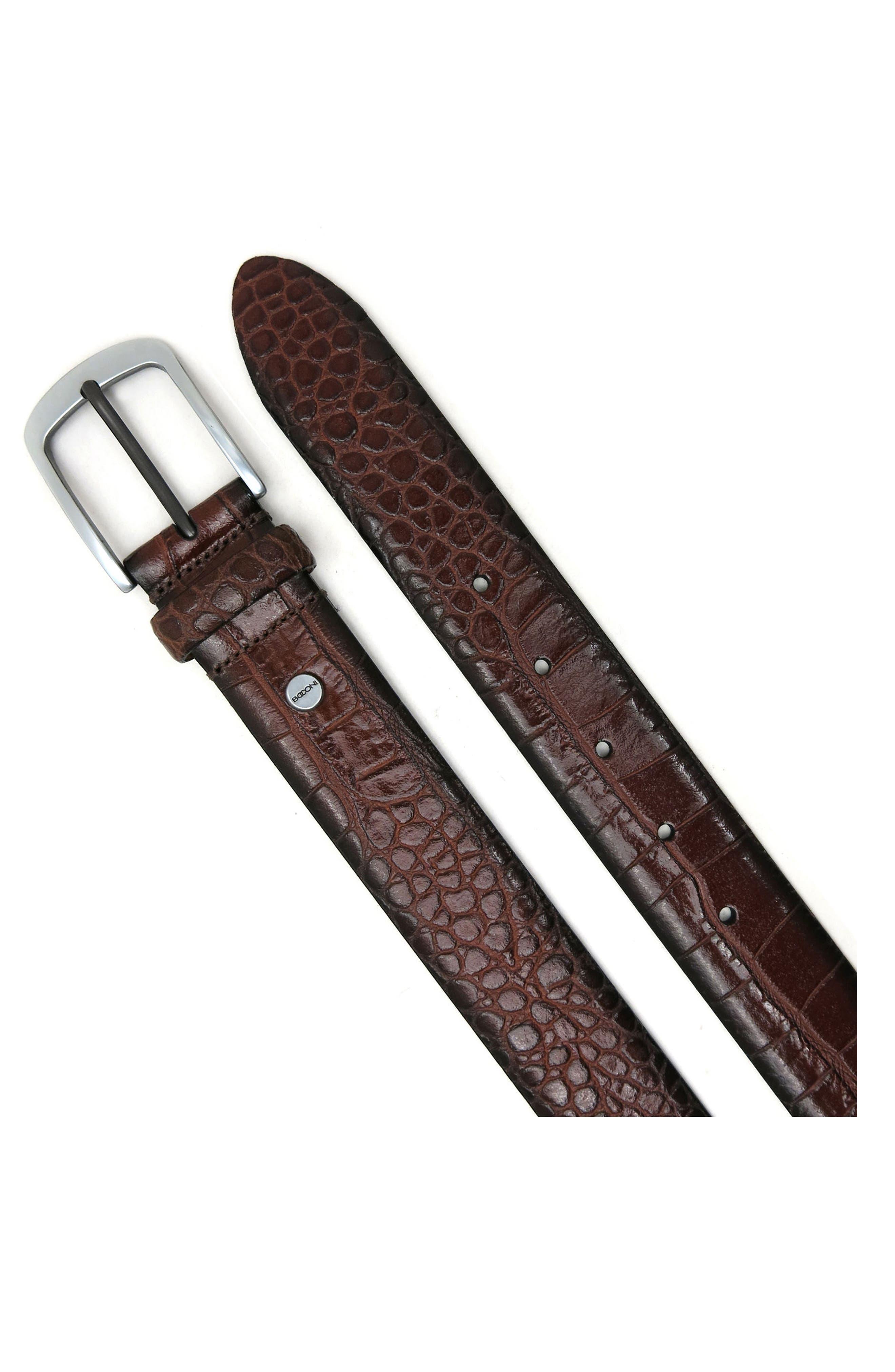 Croc Embossed Leather Belt,                             Main thumbnail 1, color,                             COGNAC