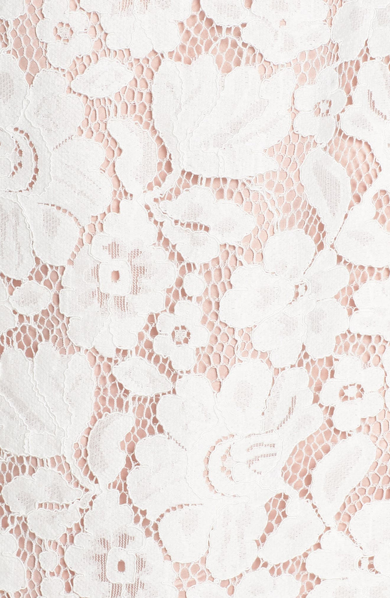 Sleeveless Eyelash Lace Sheath Dress,                             Alternate thumbnail 6, color,                             CREAM