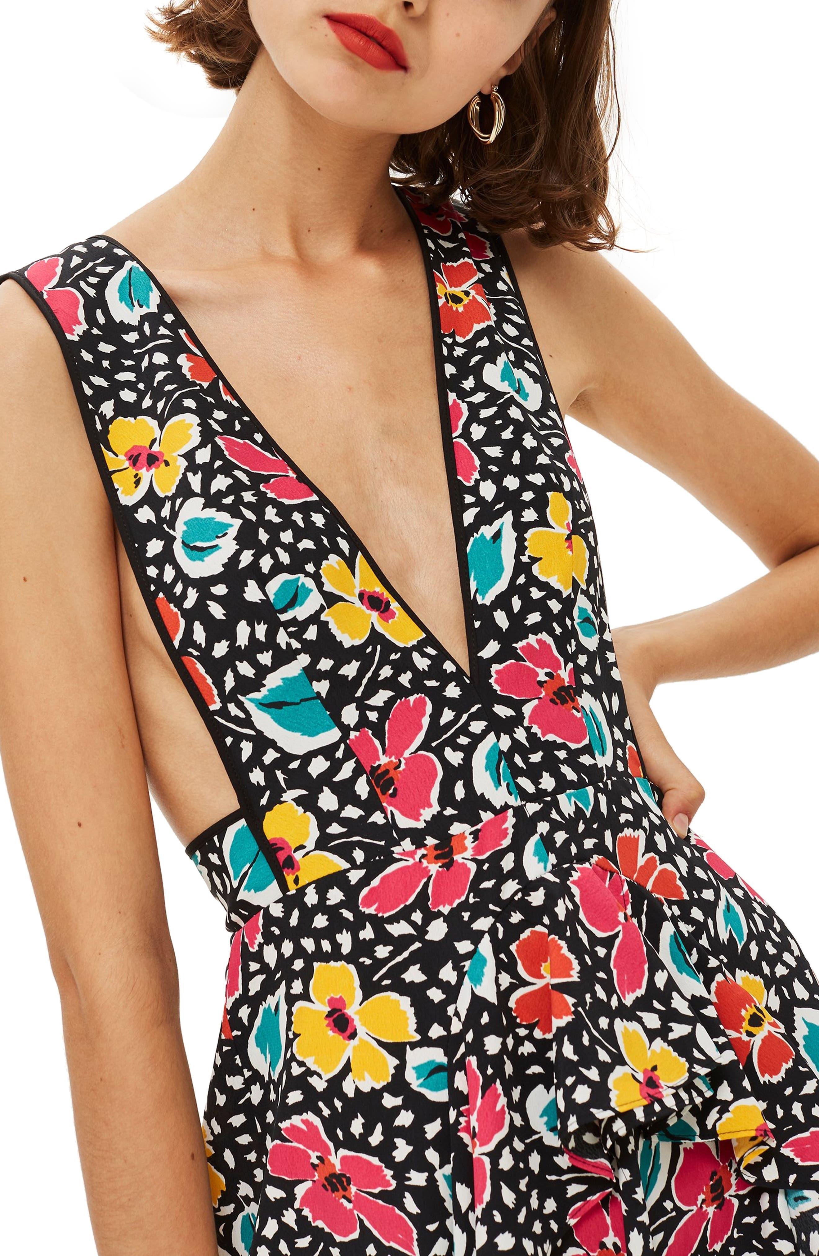 Pinafore Midi Dress,                             Alternate thumbnail 4, color,                             BLACK MULTI