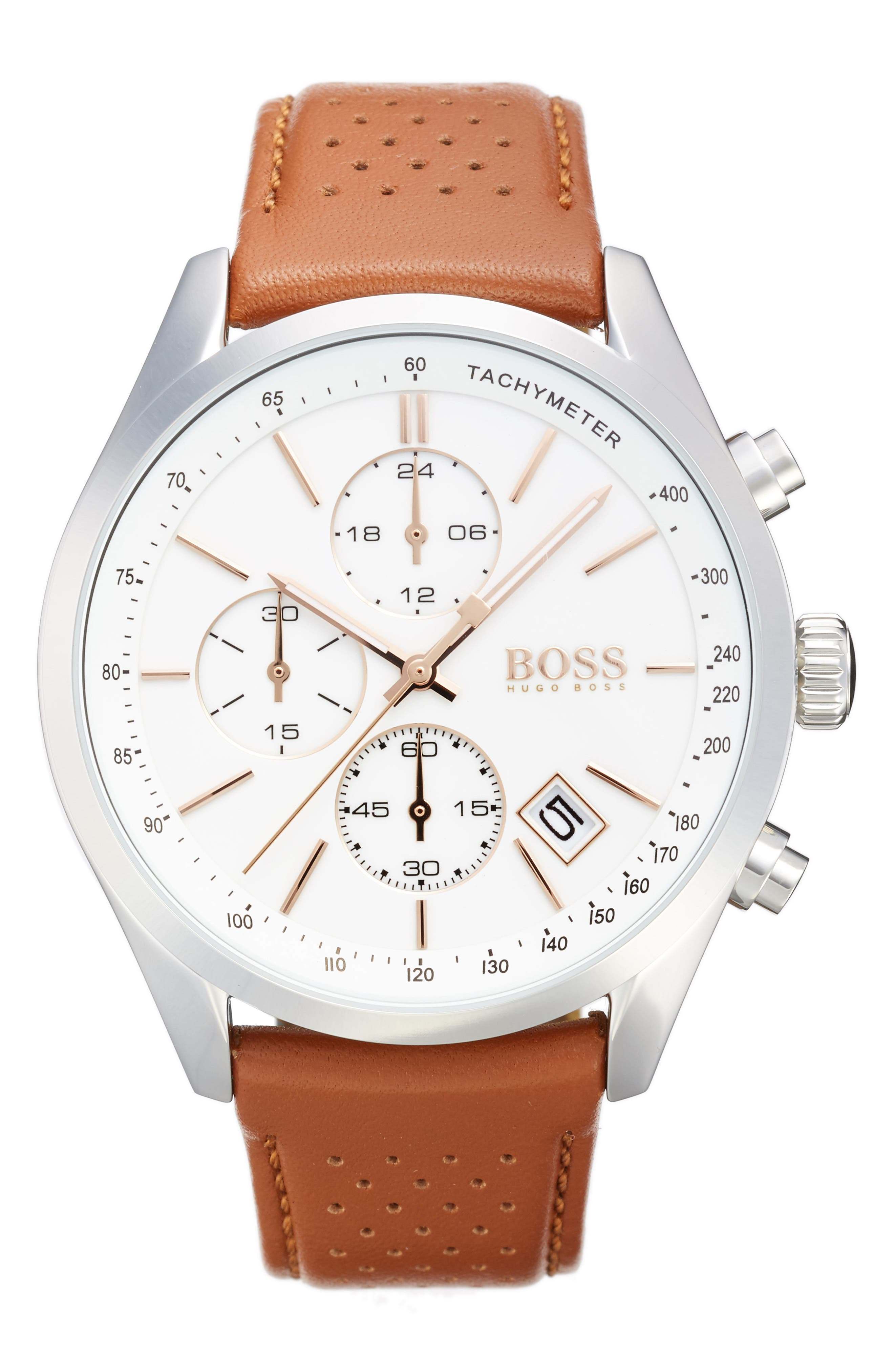 BOSS,                             Grand Prix Leather Strap Chronograph Watch, 44mm,                             Main thumbnail 1, color,                             200