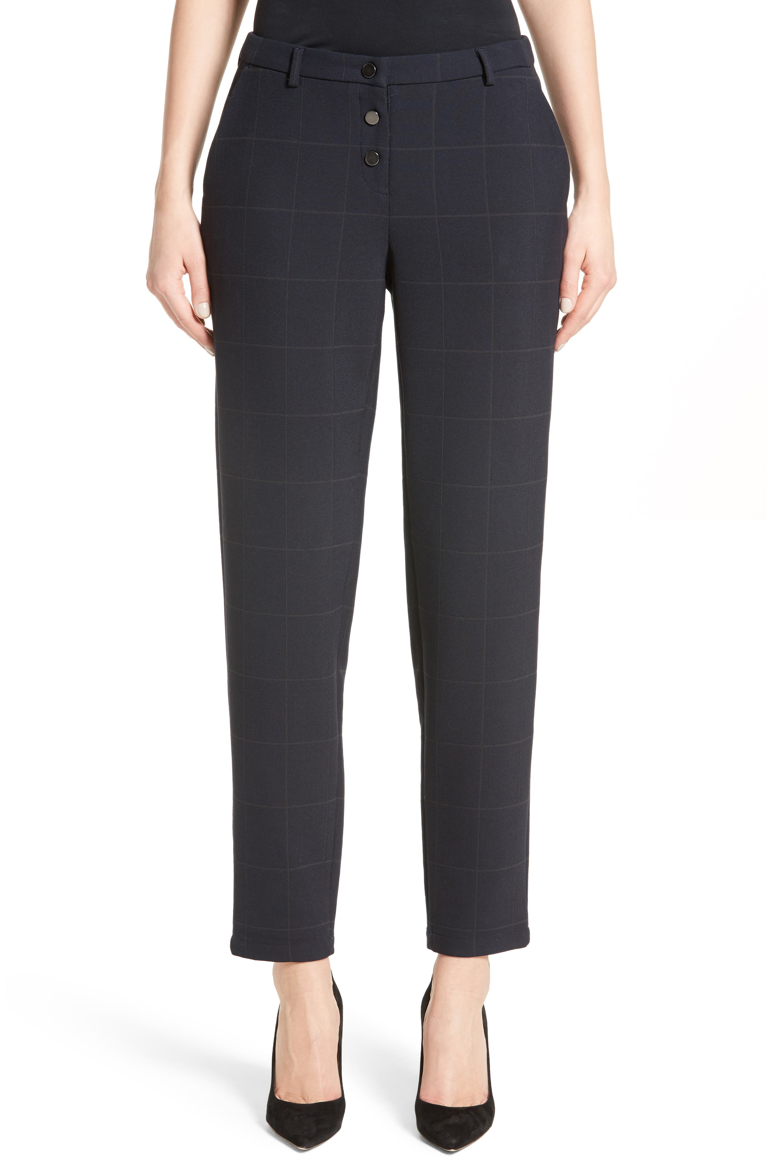 Windowpane Plaid Pants,                         Main,                         color,