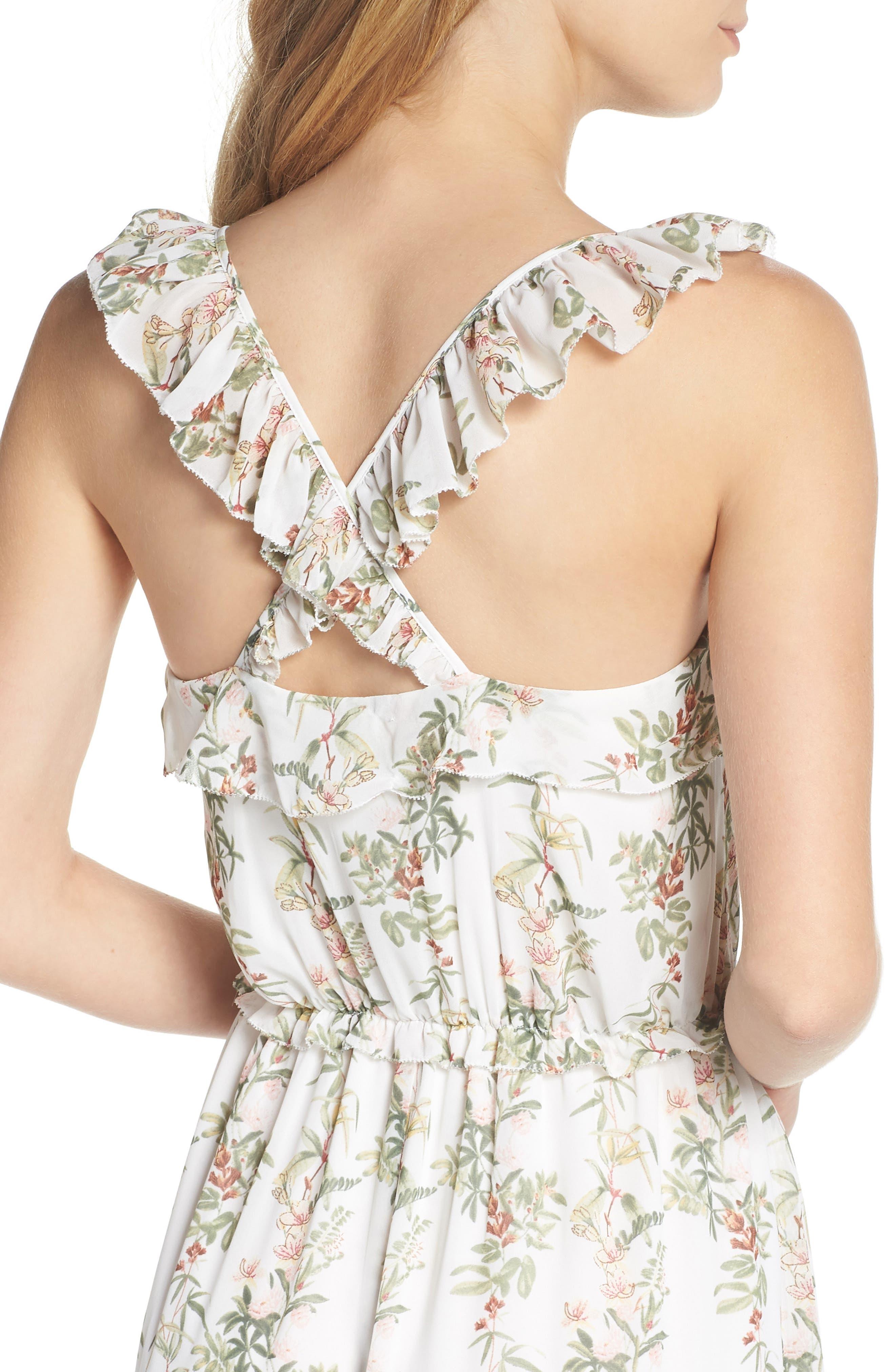 Isabella Floral Stripe Cross Back Maxi Dress,                             Alternate thumbnail 4, color,                             900