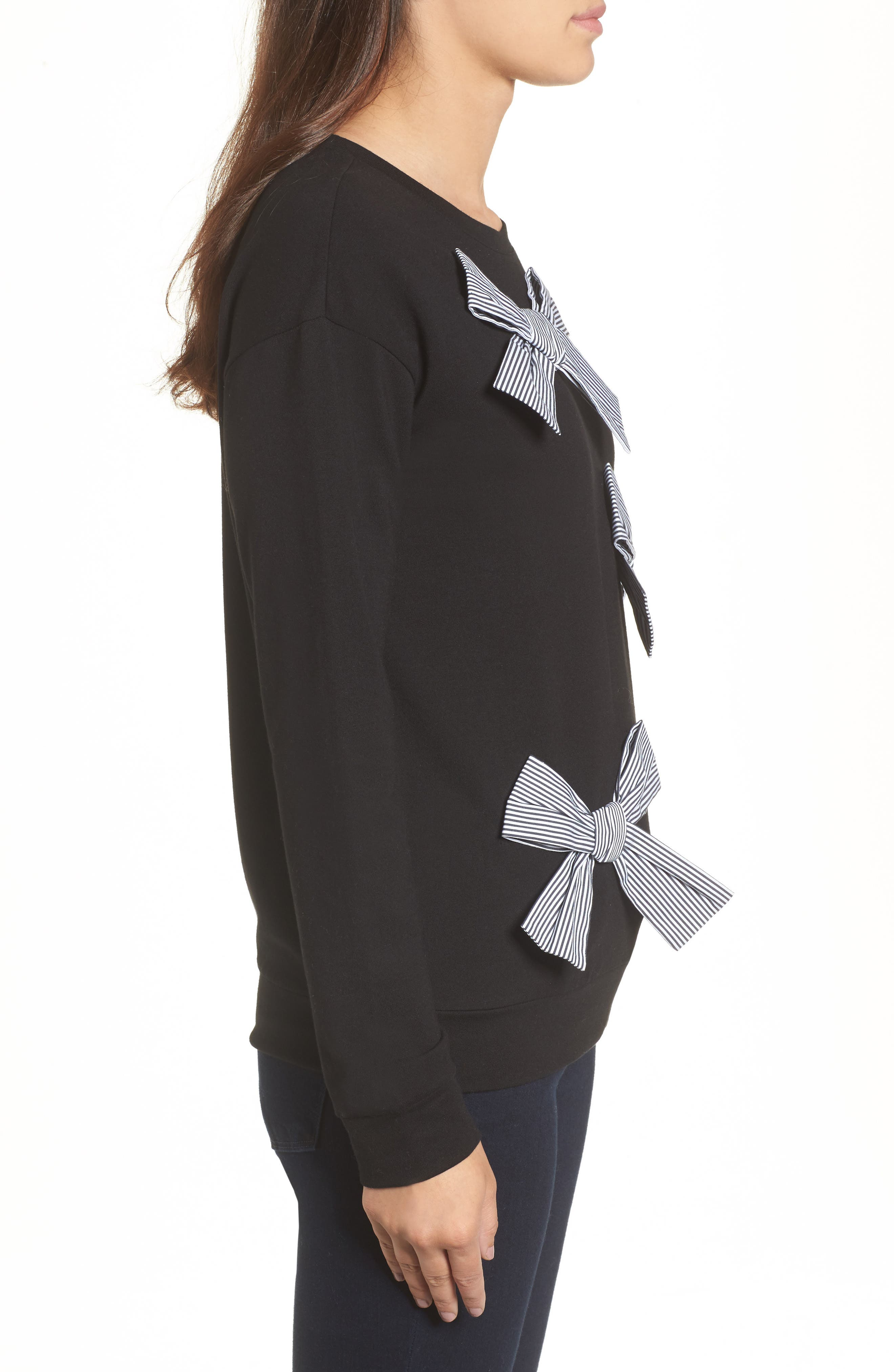 Bow Detail Sweatshirt,                             Alternate thumbnail 3, color,                             001