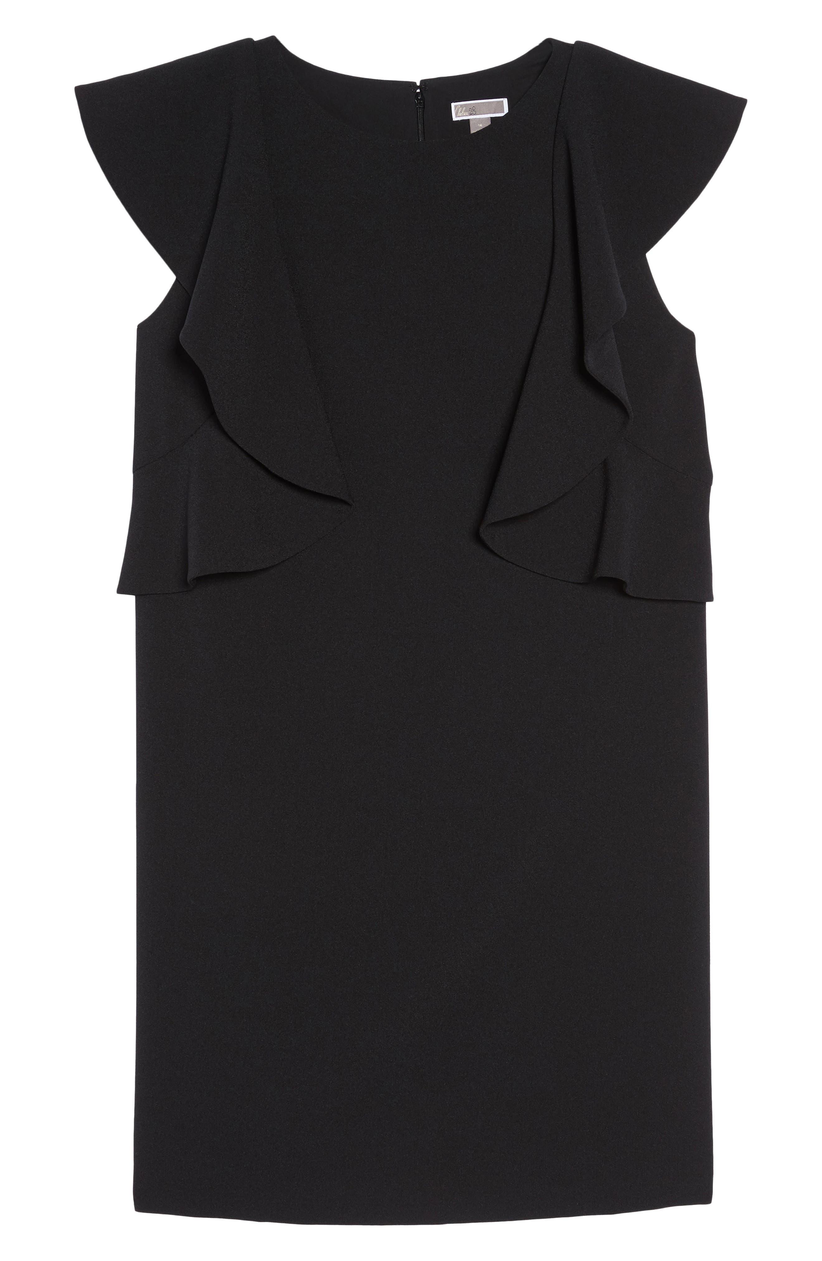 Flutter Sleeve Shift Dress,                             Alternate thumbnail 6, color,                             001