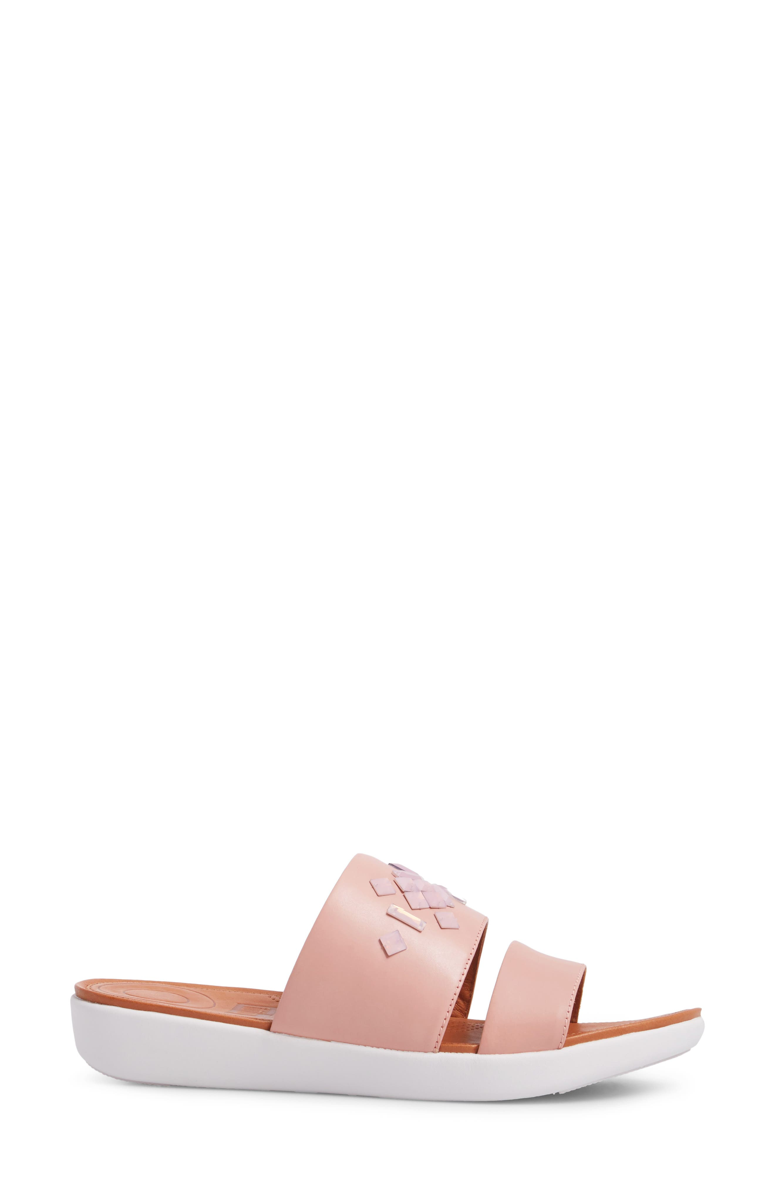 FITFLOP,                             Delta Slide Sandal,                             Alternate thumbnail 3, color,                             DUSTY PINK LEATHER