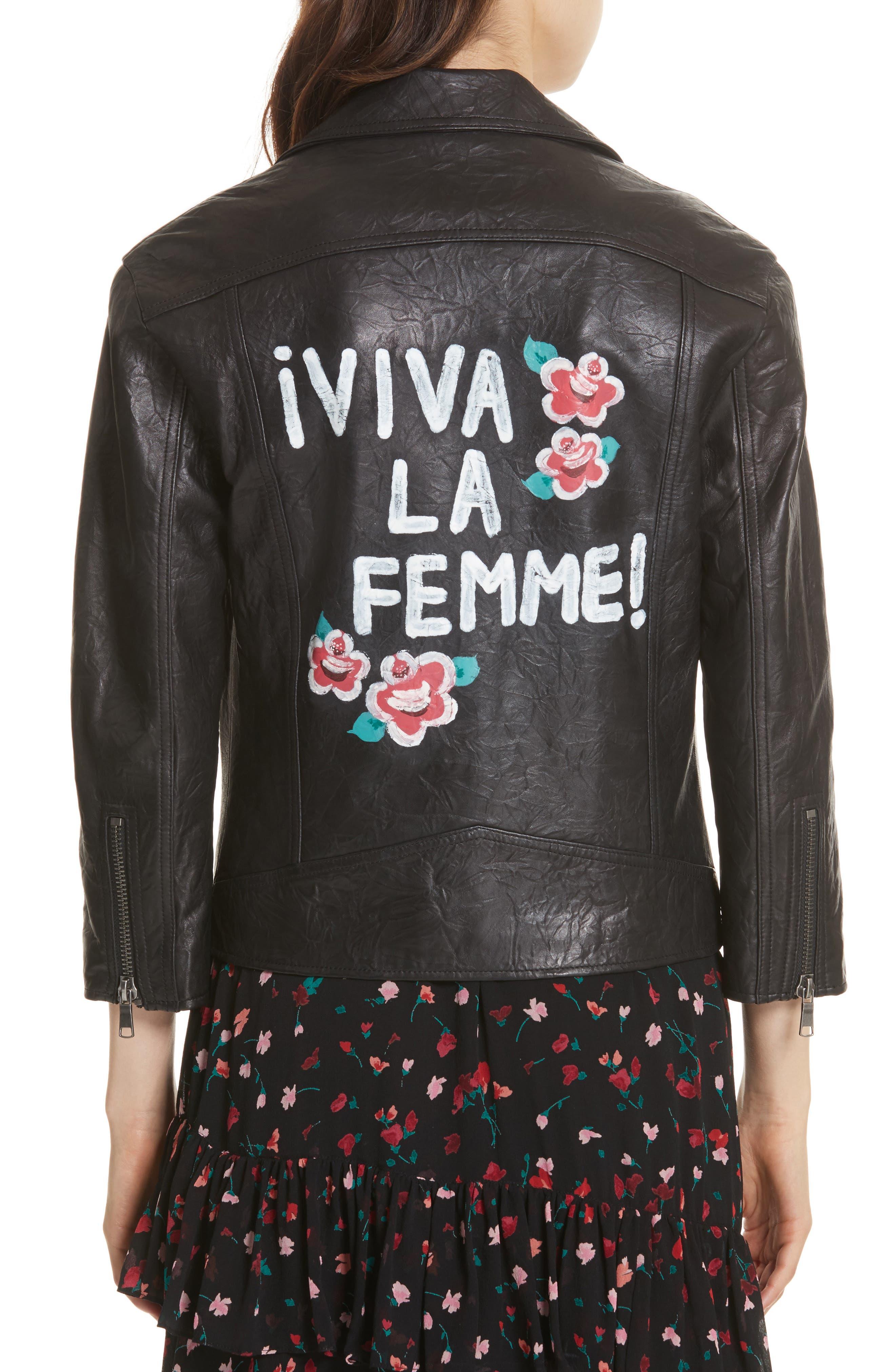 JOIE,                             Kameke Viva La Femme Lambskin Leather Jacket,                             Alternate thumbnail 2, color,                             001
