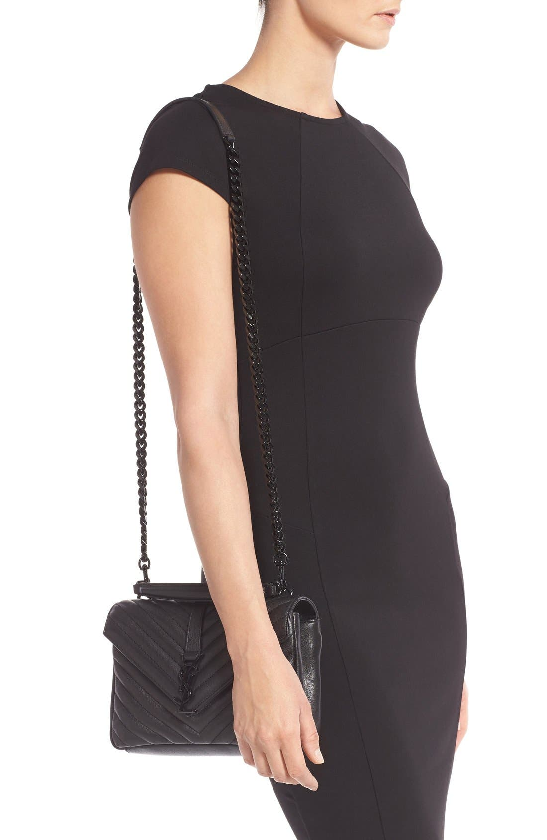 'Medium College' Quilted Leather Shoulder Bag,                             Alternate thumbnail 2, color,                             001