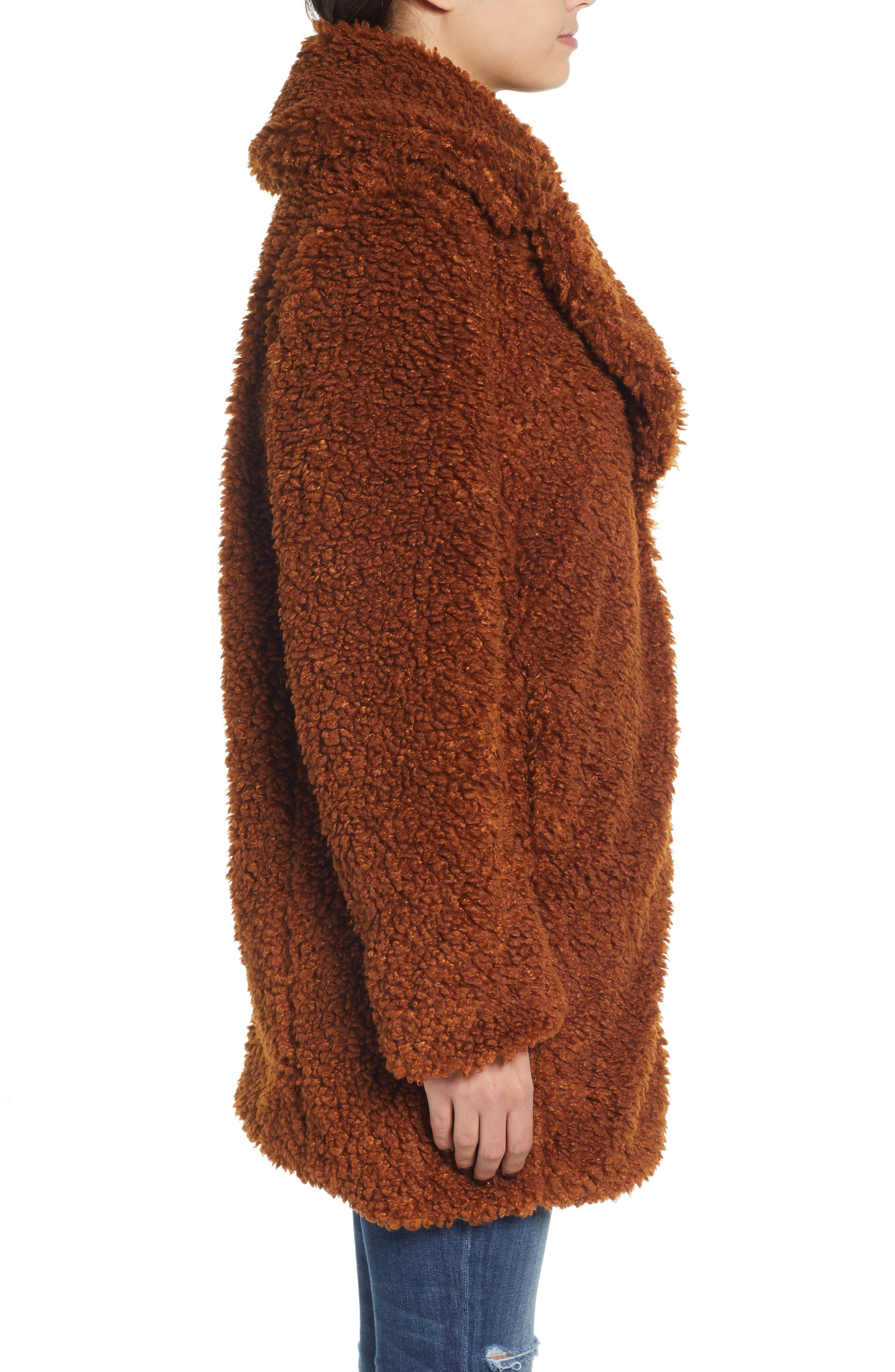 Faux Shearling Coat,                             Alternate thumbnail 3, color,                             RUST