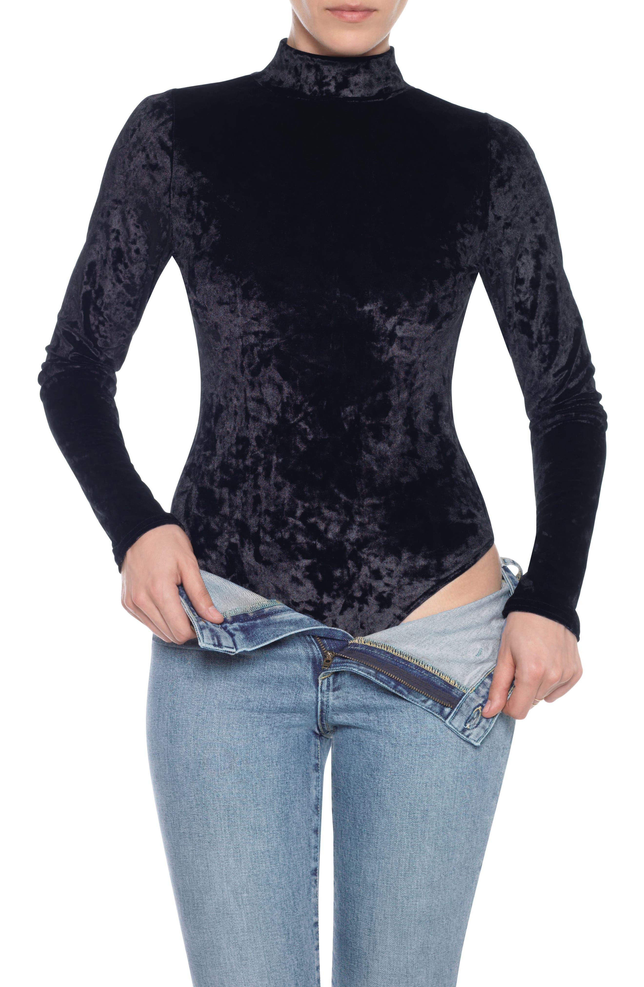 Taylor Hill x Joe's Mock Neck Velvet Bodysuit,                         Main,                         color, 011