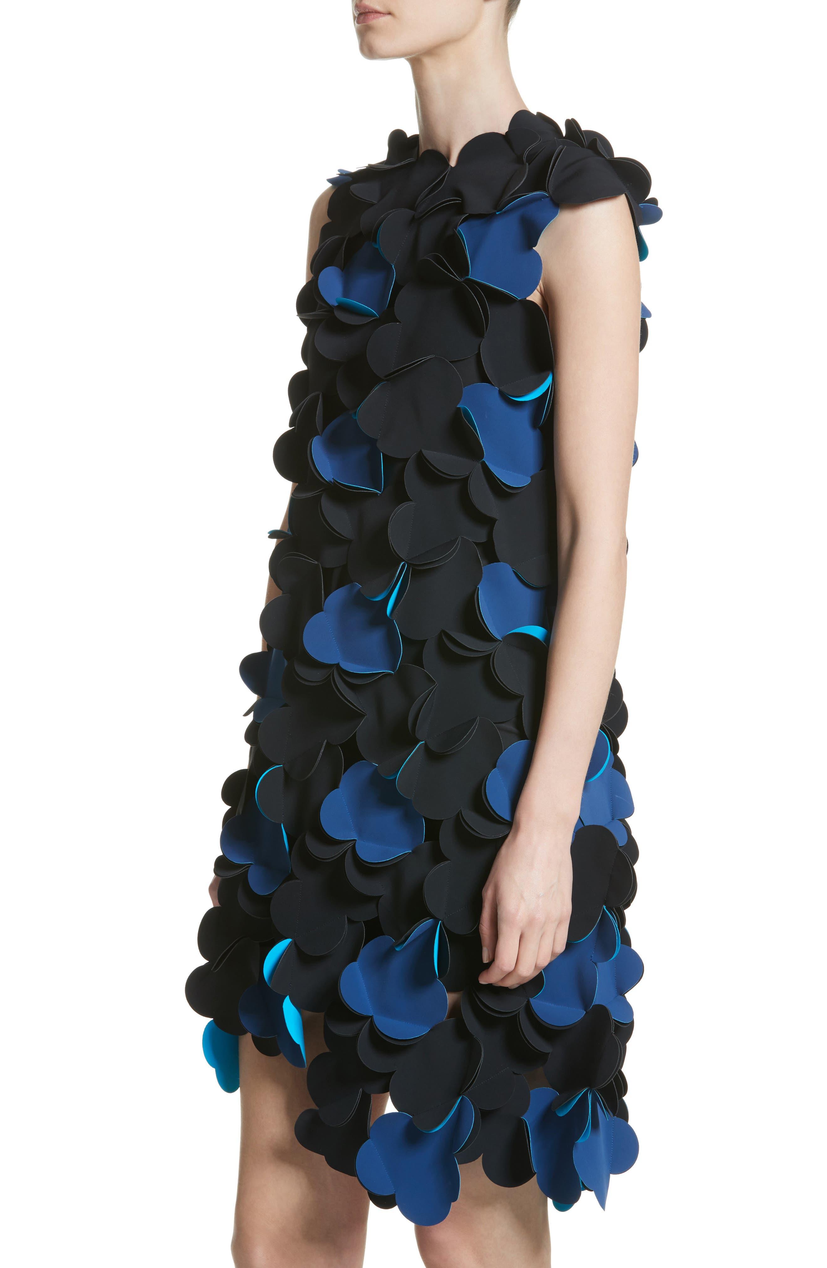 Laser Cut Appliqué Asymmetrical Dress,                             Alternate thumbnail 4, color,                             001