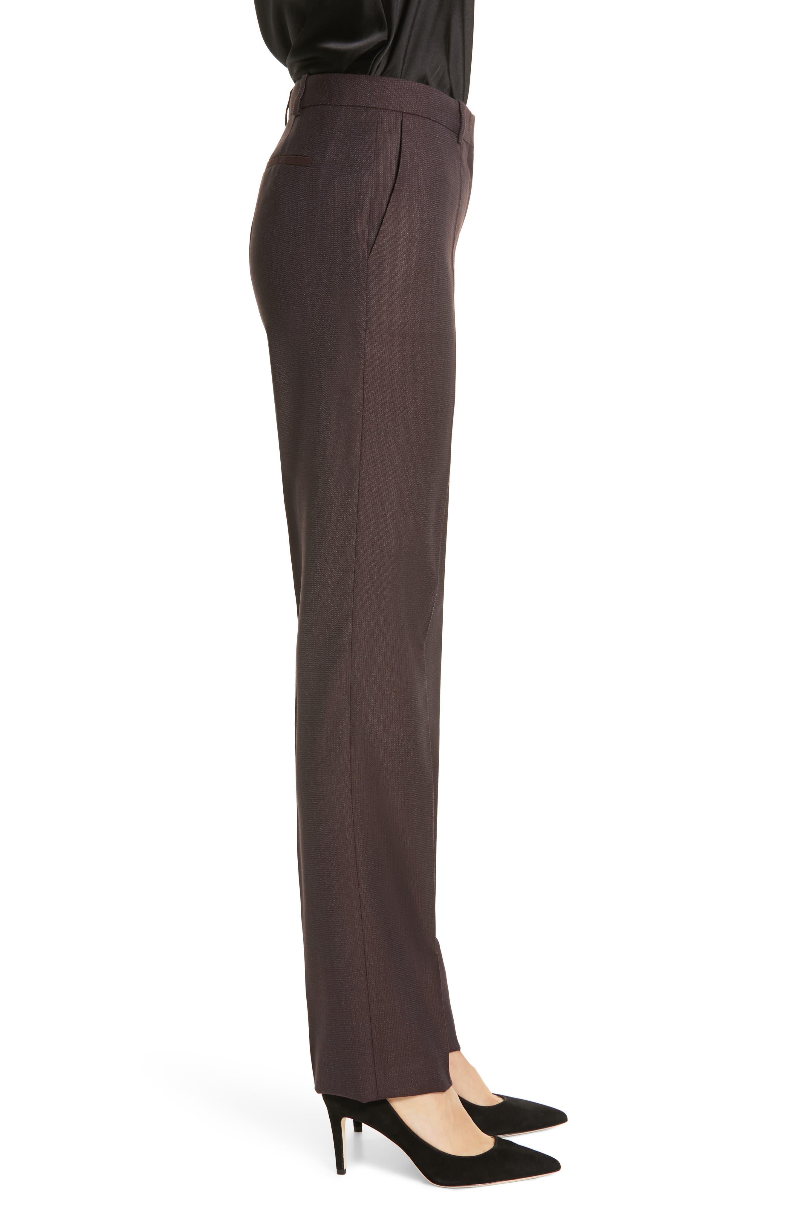 Tamea Slim Wool Suit Pants,                             Alternate thumbnail 3, color,                             DARK BERRY FANTASY