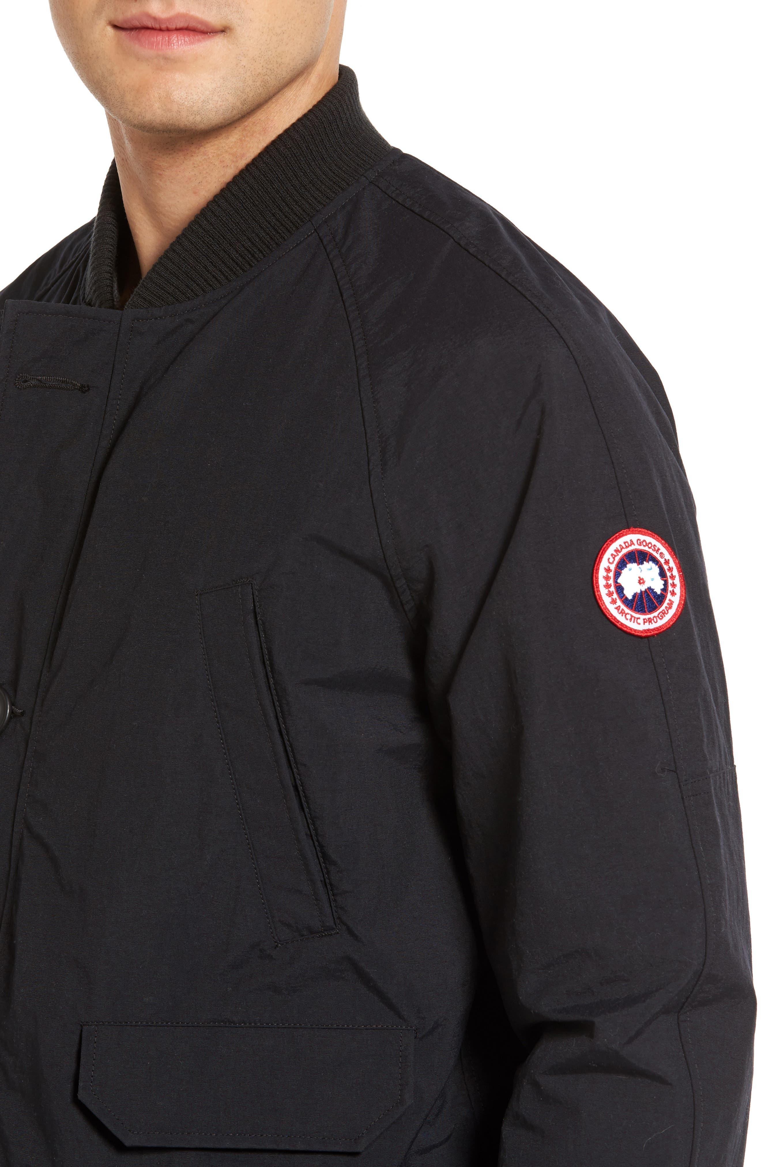Faber Slim Fit Bomber Jacket,                             Alternate thumbnail 4, color,                             BLACK