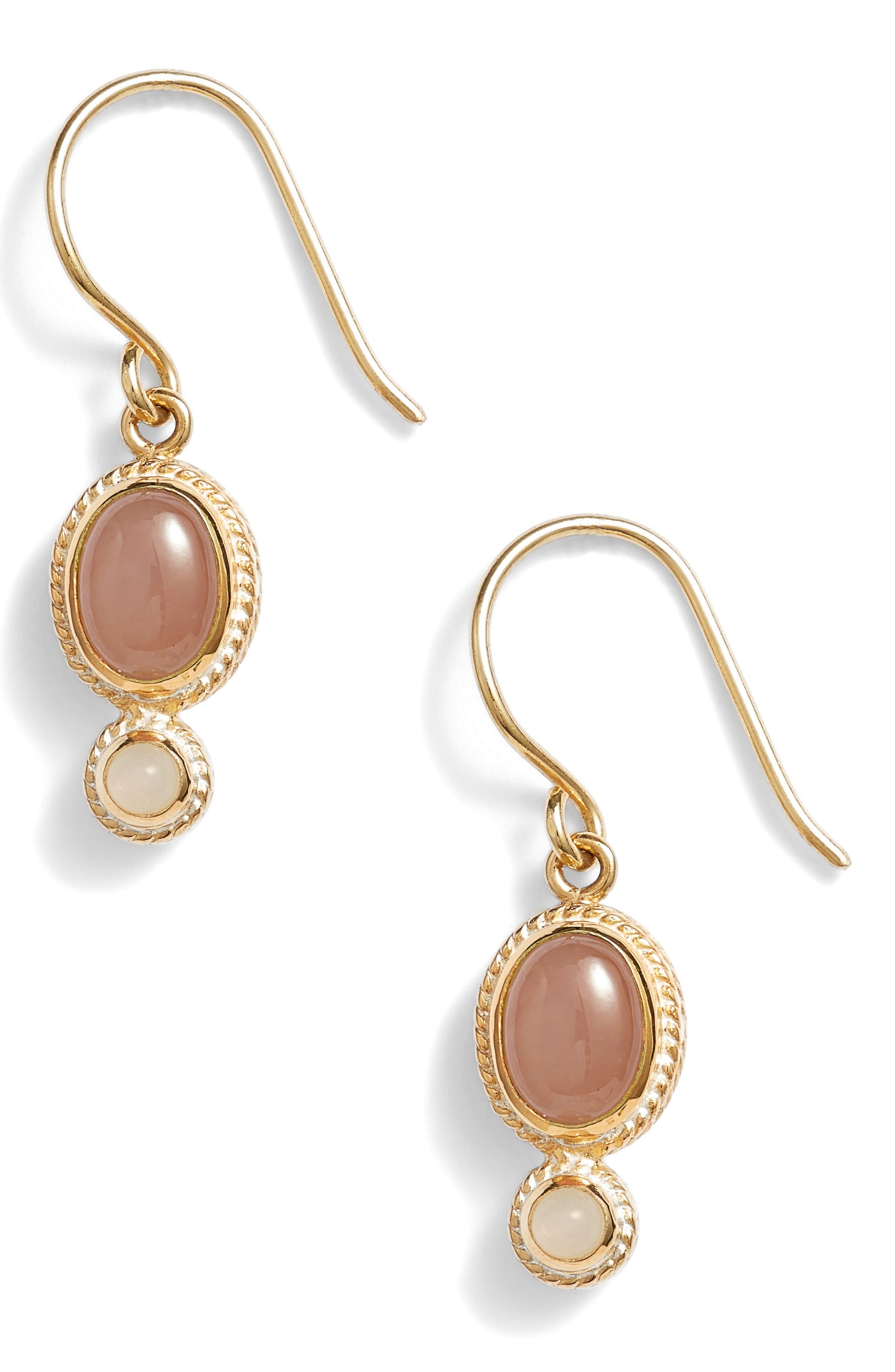 Guava Quartz & Moonstone Drop Earrings,                             Main thumbnail 1, color,