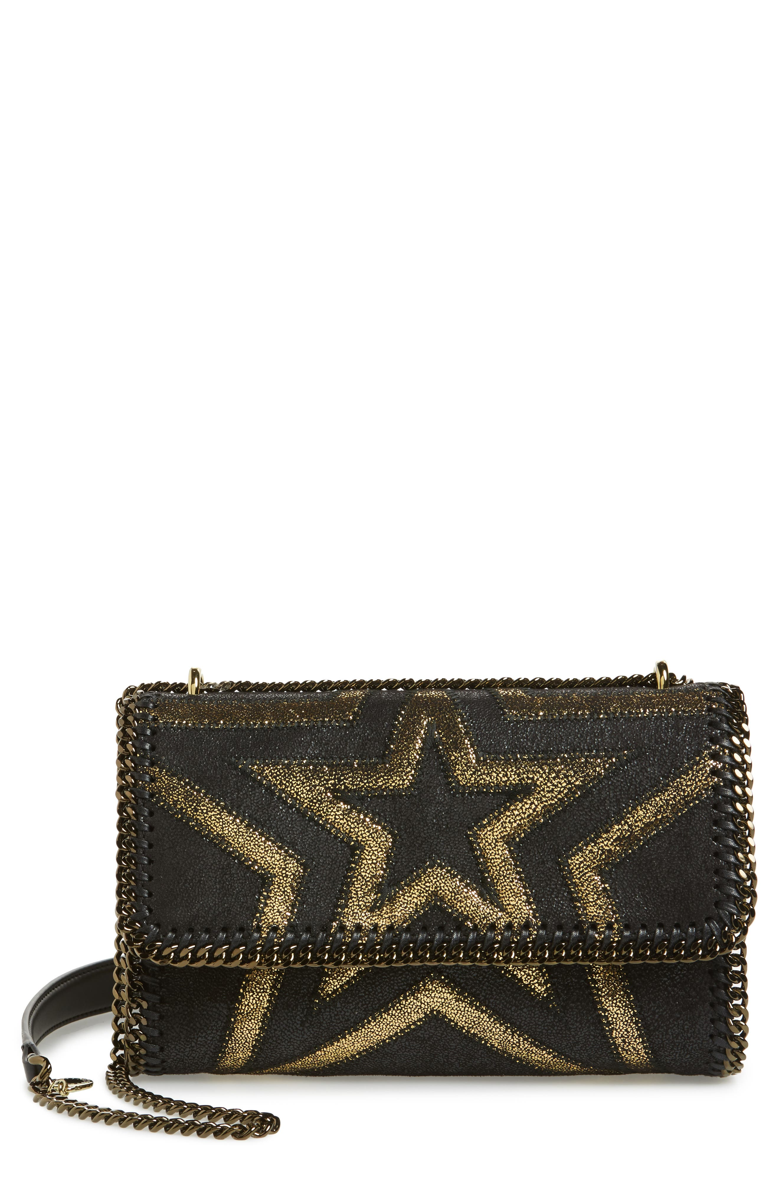 Small Falabella Shaggy Deer Star Faux Leather Shoulder Bag,                         Main,                         color, 001