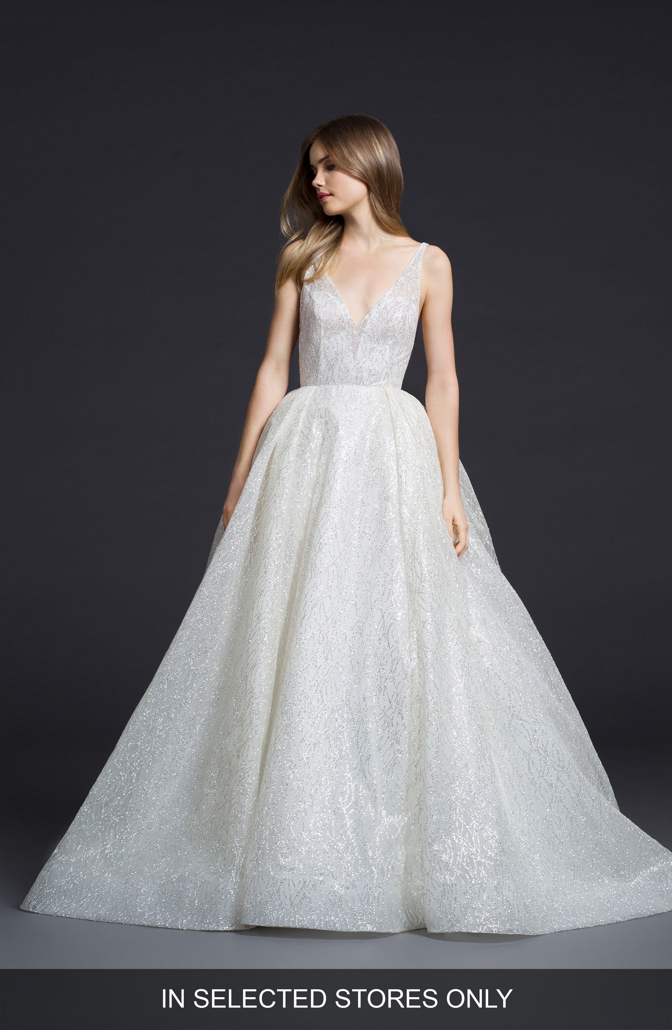 Glitter Tulle Ballgown,                         Main,                         color, IVORY