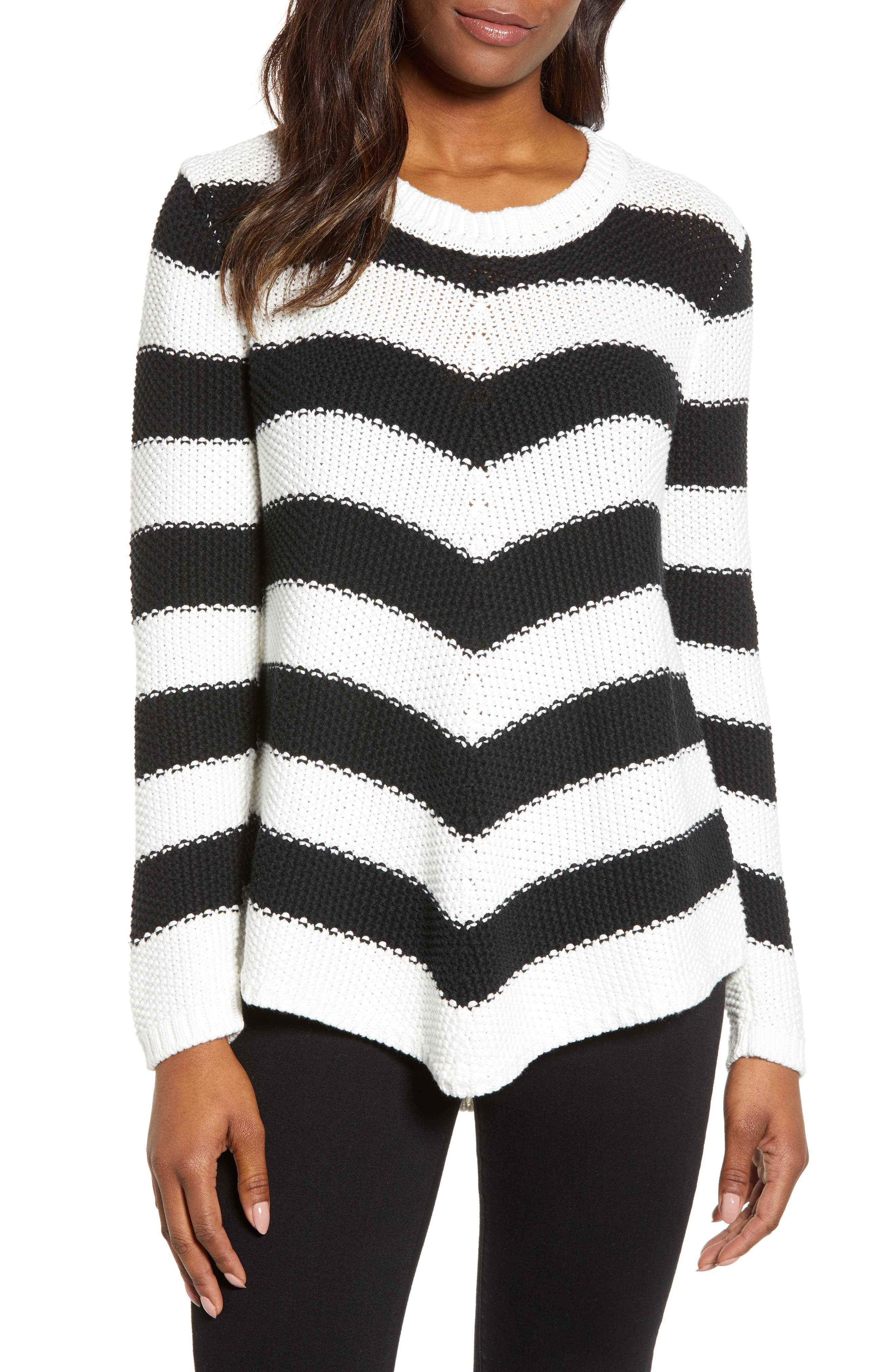 Stitch Stripe Sweater,                             Main thumbnail 1, color,                             BLACK- IVORY GABRIELLA STRIPE