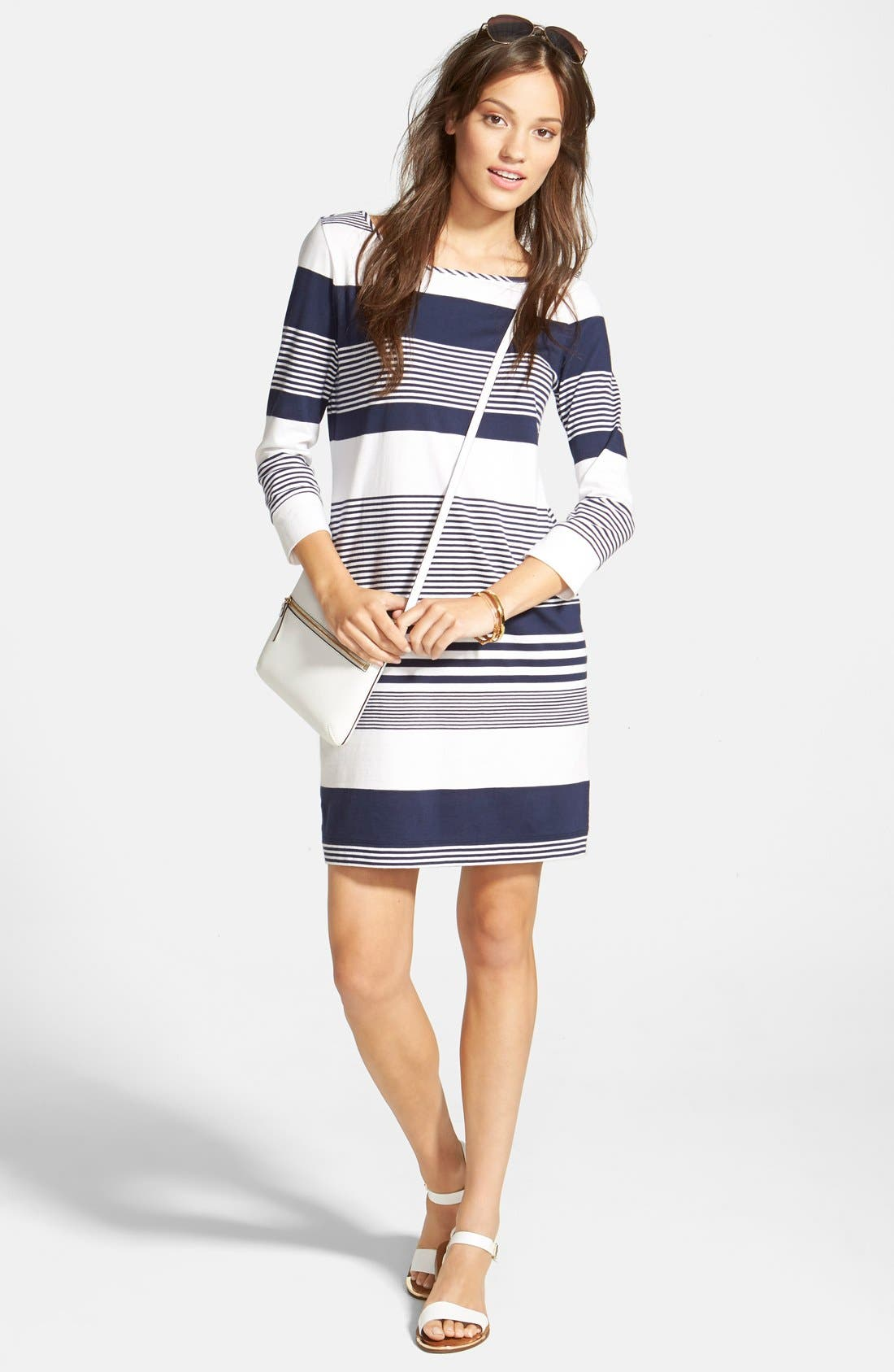 Marlowe Stripe Pima Cotton Shift Dress,                             Alternate thumbnail 4, color,                             408