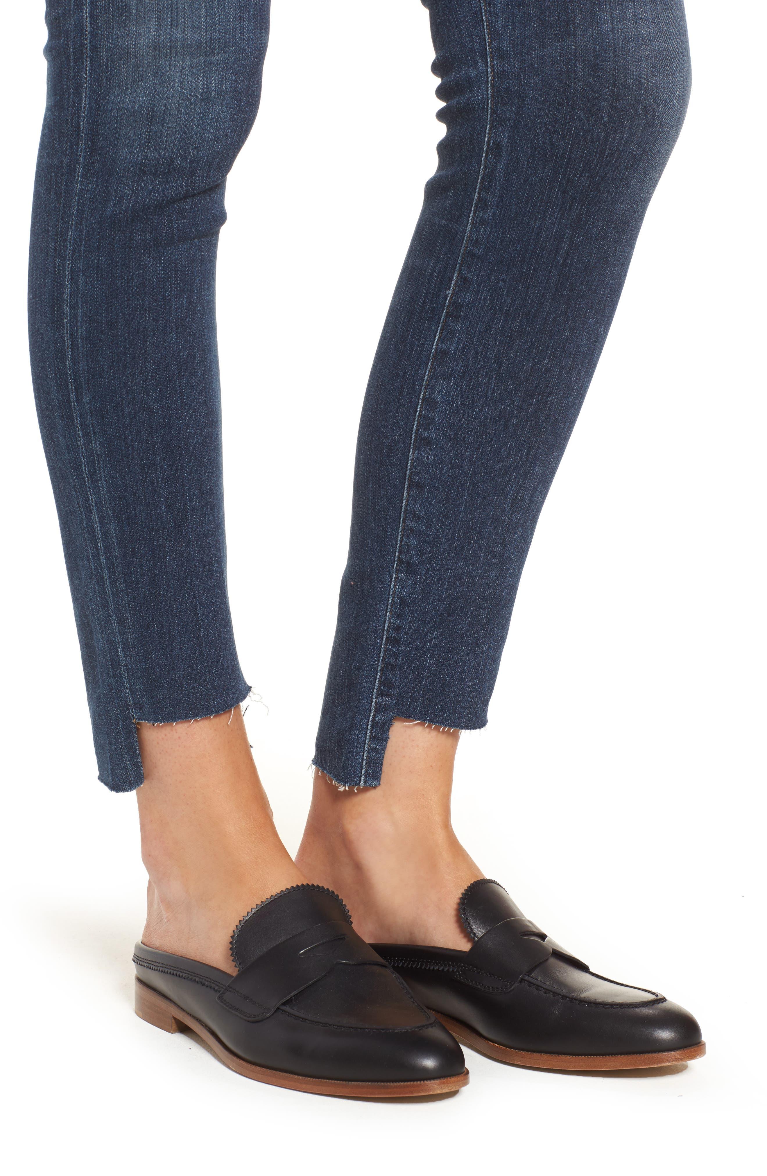 Rocket Step Hem Skinny Jeans,                             Alternate thumbnail 4, color,                             401