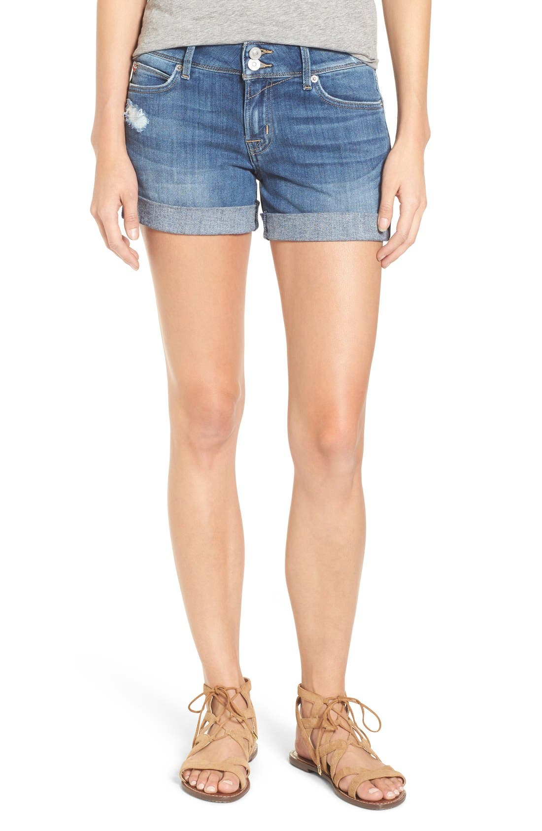 'Croxley' Cuffed Denim Shorts,                             Main thumbnail 3, color,