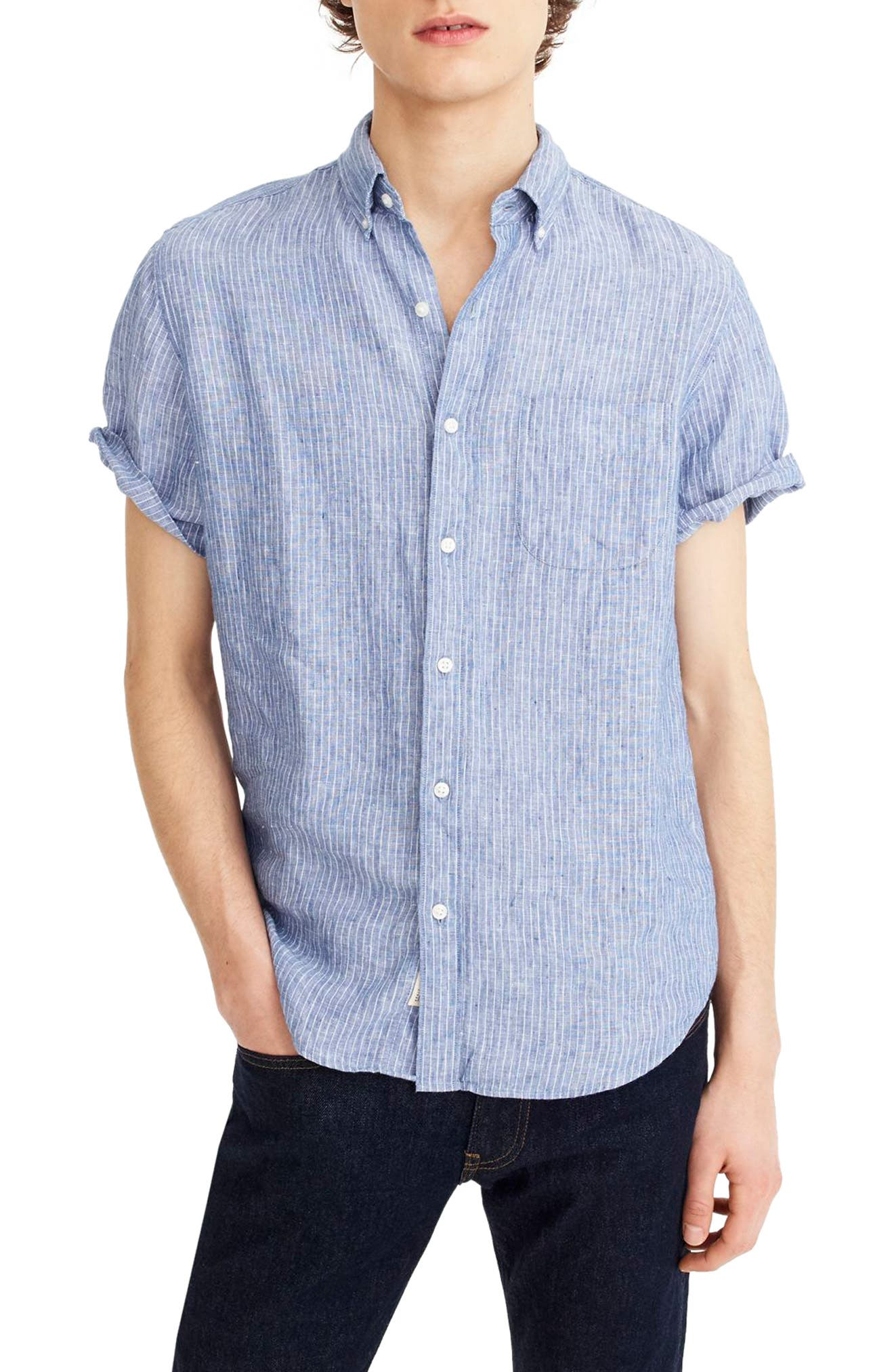 Stripe Short Sleeve Linen Shirt,                         Main,                         color, 400