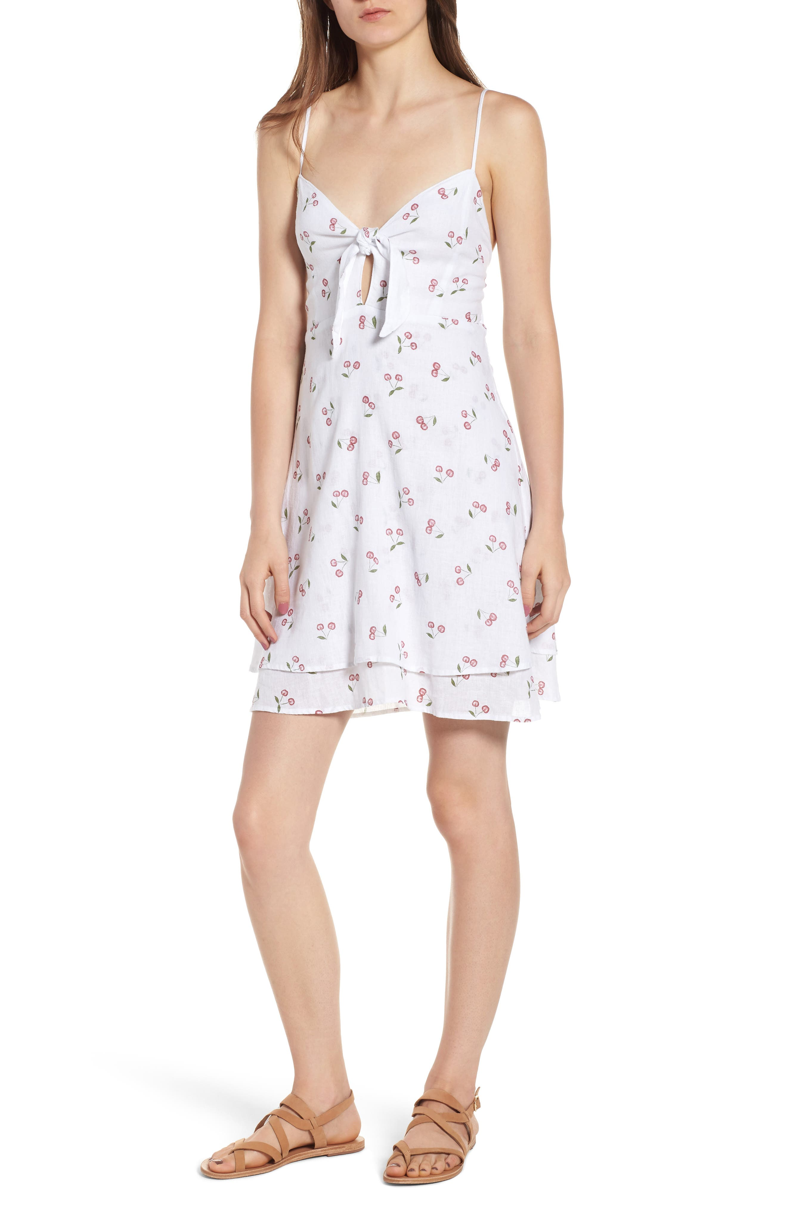 August Daisy Tie Front Dress,                         Main,                         color, WHITE CHERRIES