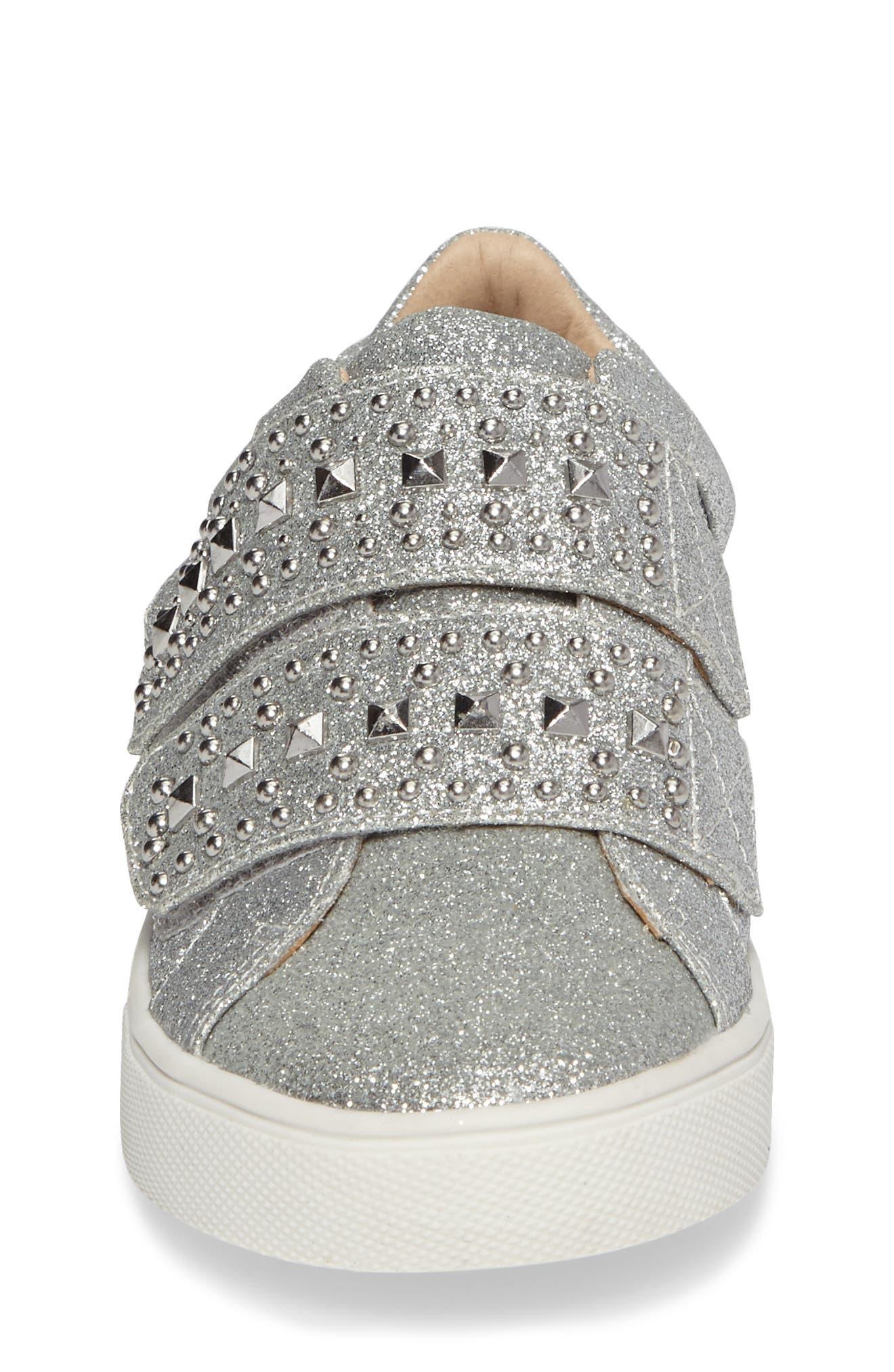 Baylen Embellished Glitter Sneaker,                             Alternate thumbnail 4, color,                             SILVER GLITTER