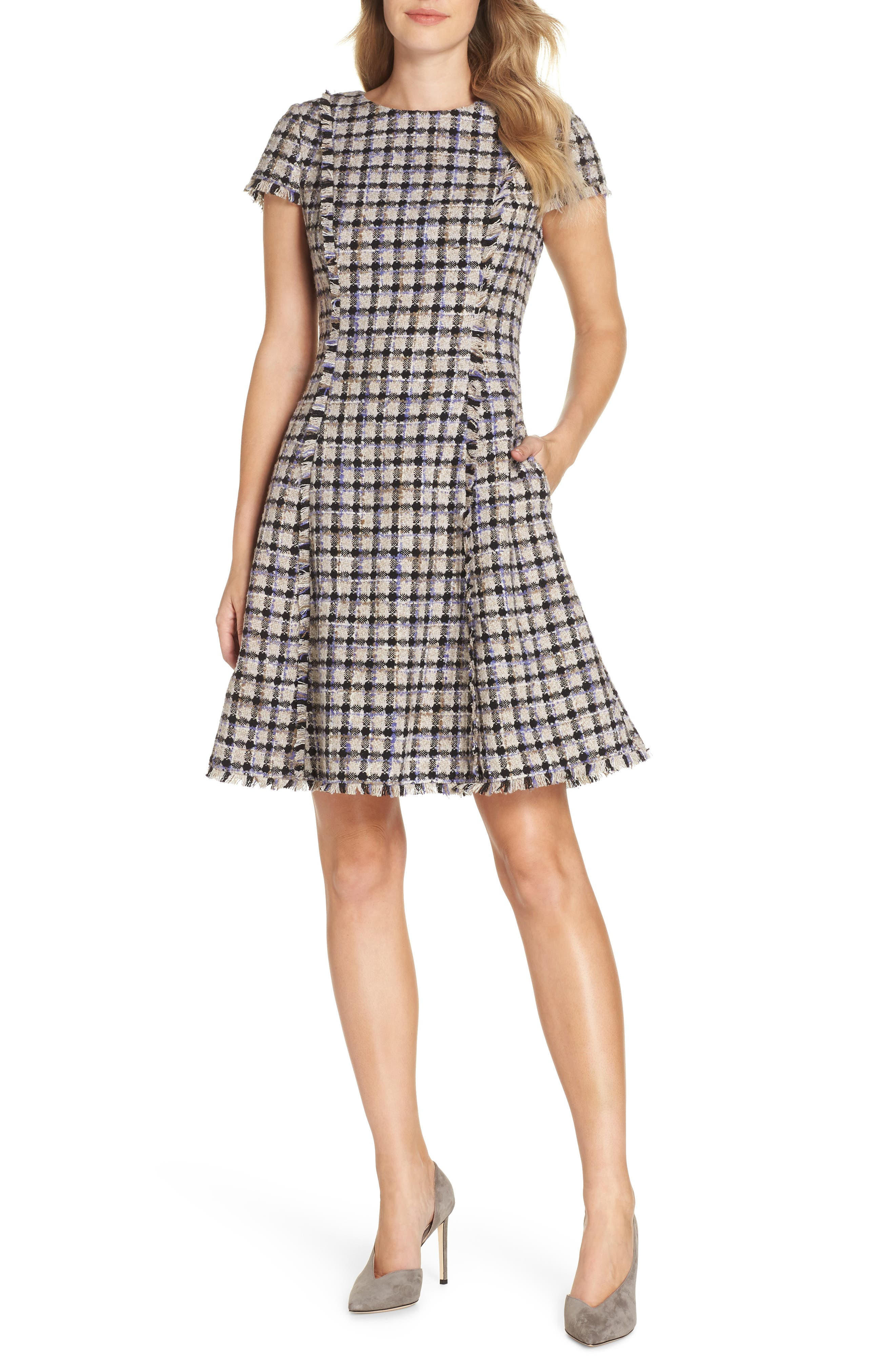Petite Eliza J Cap Sleeve Fit & Flare Dress, Ivory