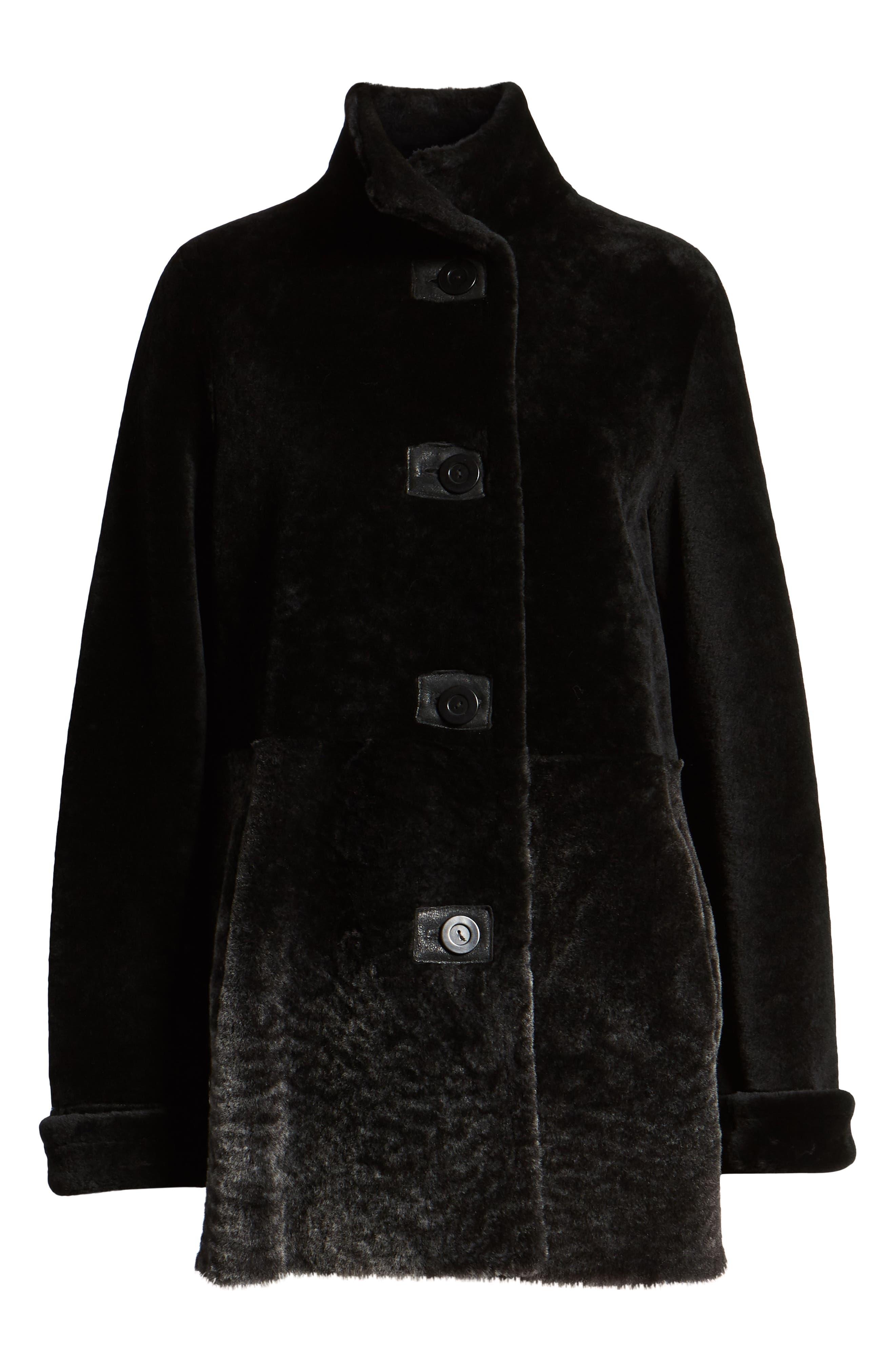 Genuine Shearling Coat,                             Alternate thumbnail 6, color,                             003