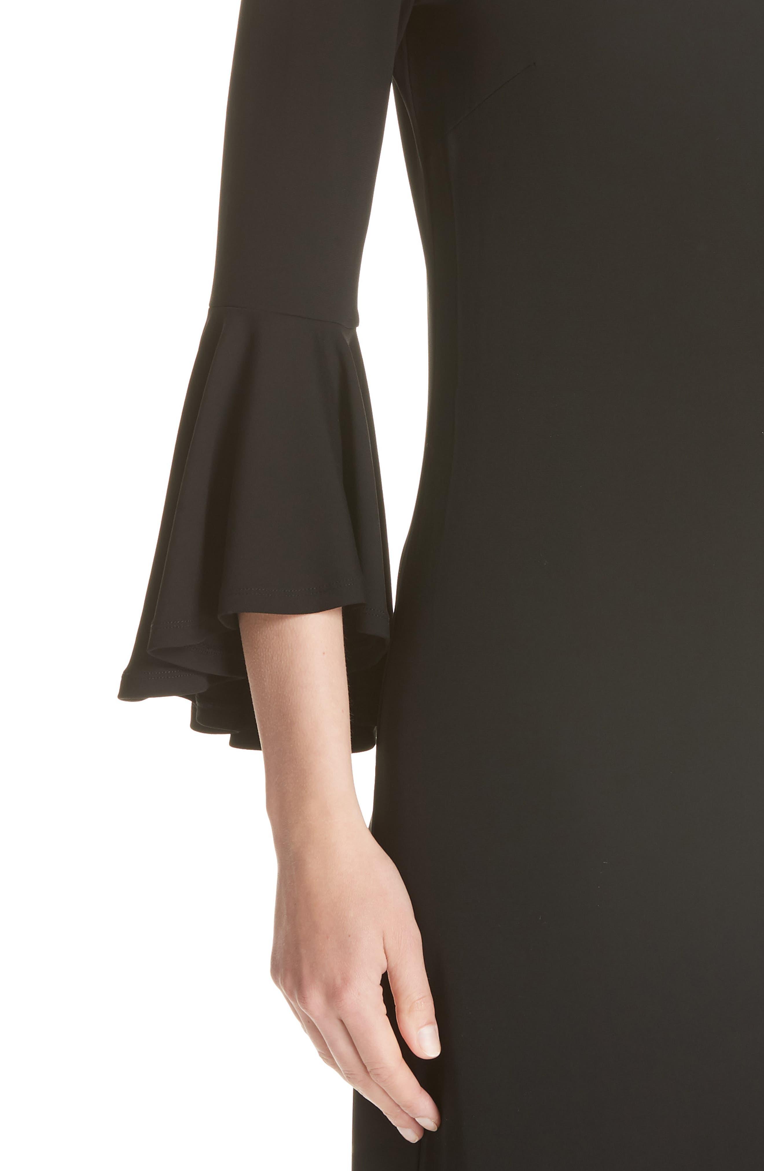 Cascade Sleeve Sheath Dress,                             Alternate thumbnail 4, color,                             001