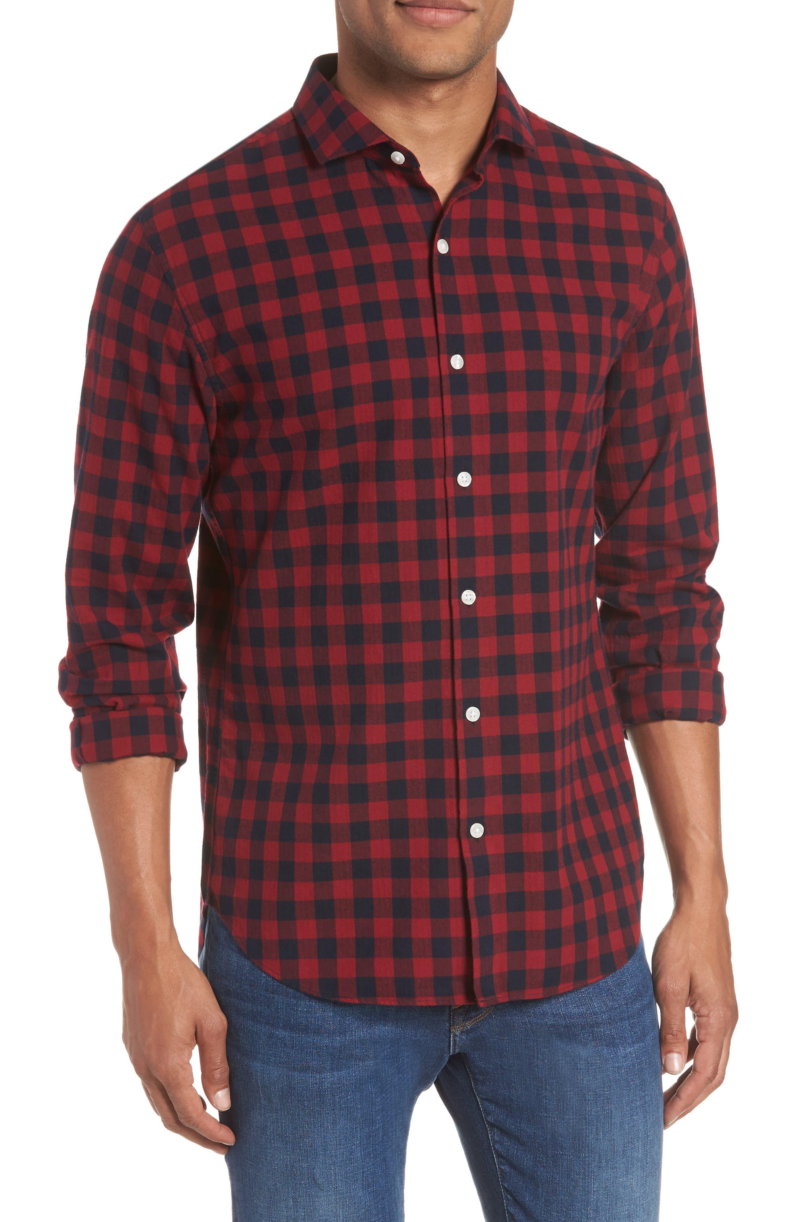 Unbutton Down Slim Fit Sport Shirt,                         Main,                         color, GARNET