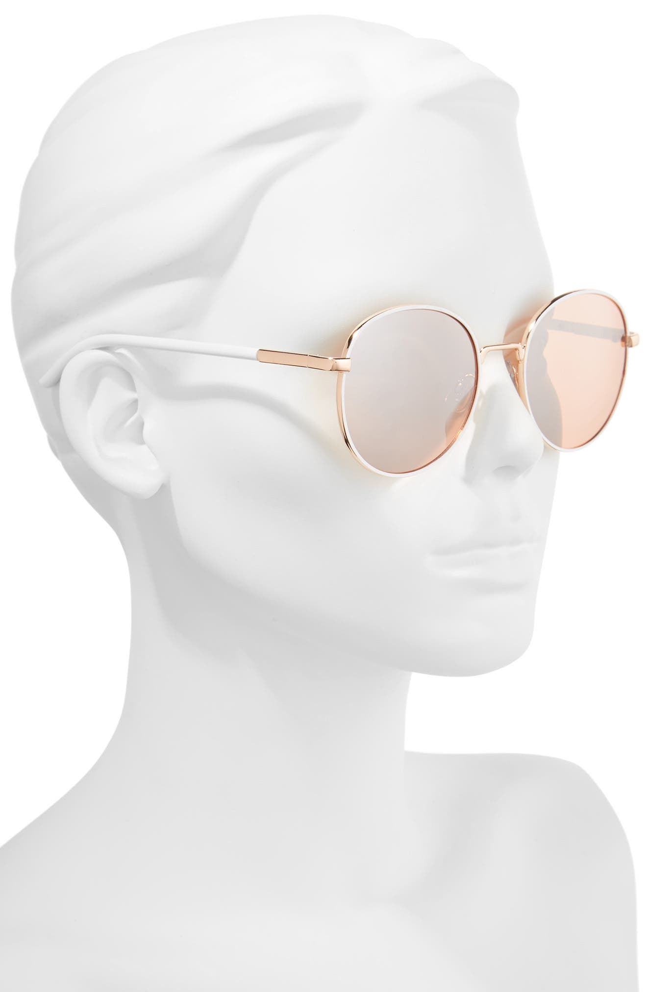 55mm Round Sunglasses,                             Alternate thumbnail 2, color,                             WHITE/ ROSE GOLD